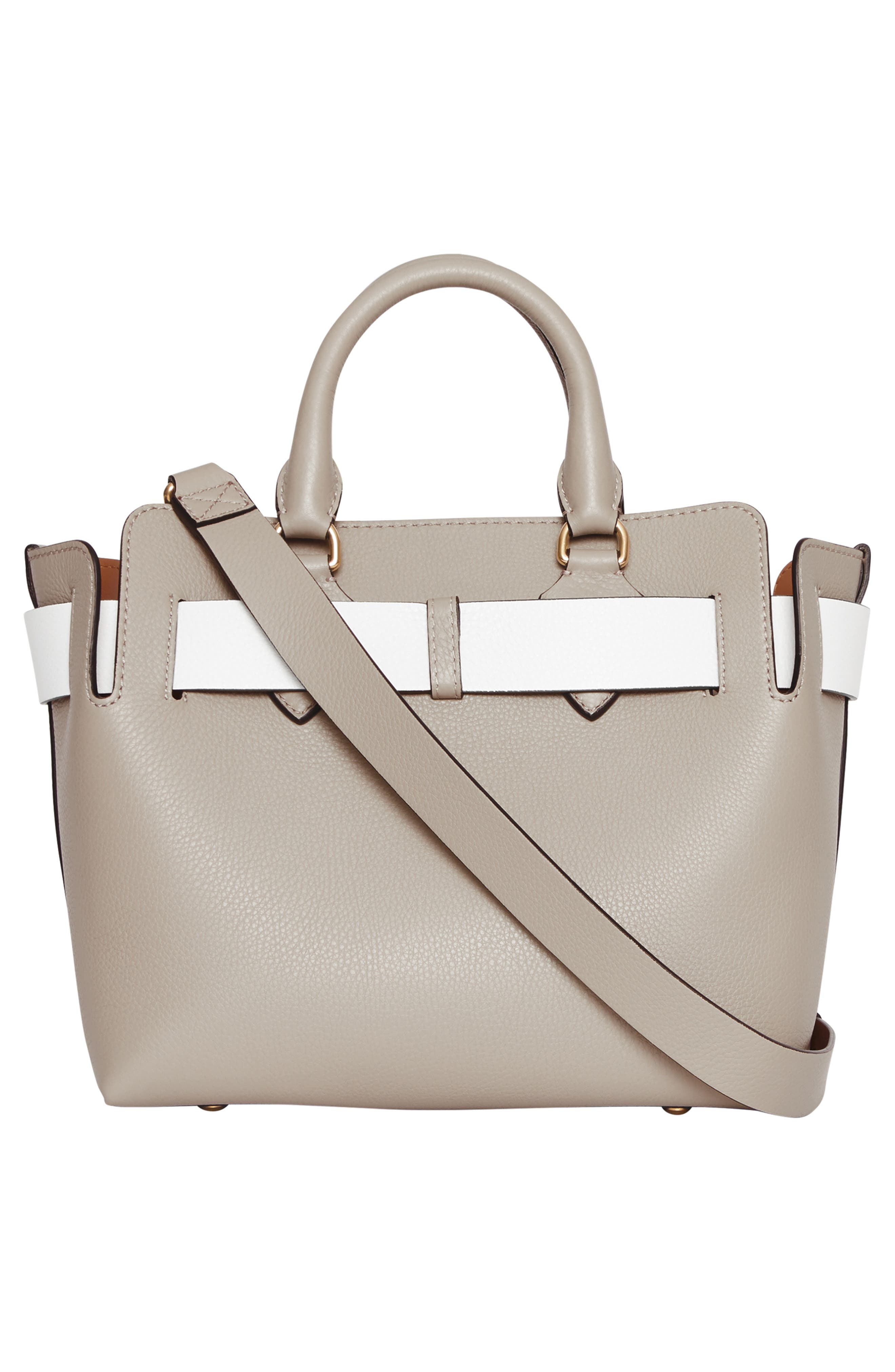 Small Contrast Belt Leather Tote,                             Alternate thumbnail 3, color,                             MINERAL GREY