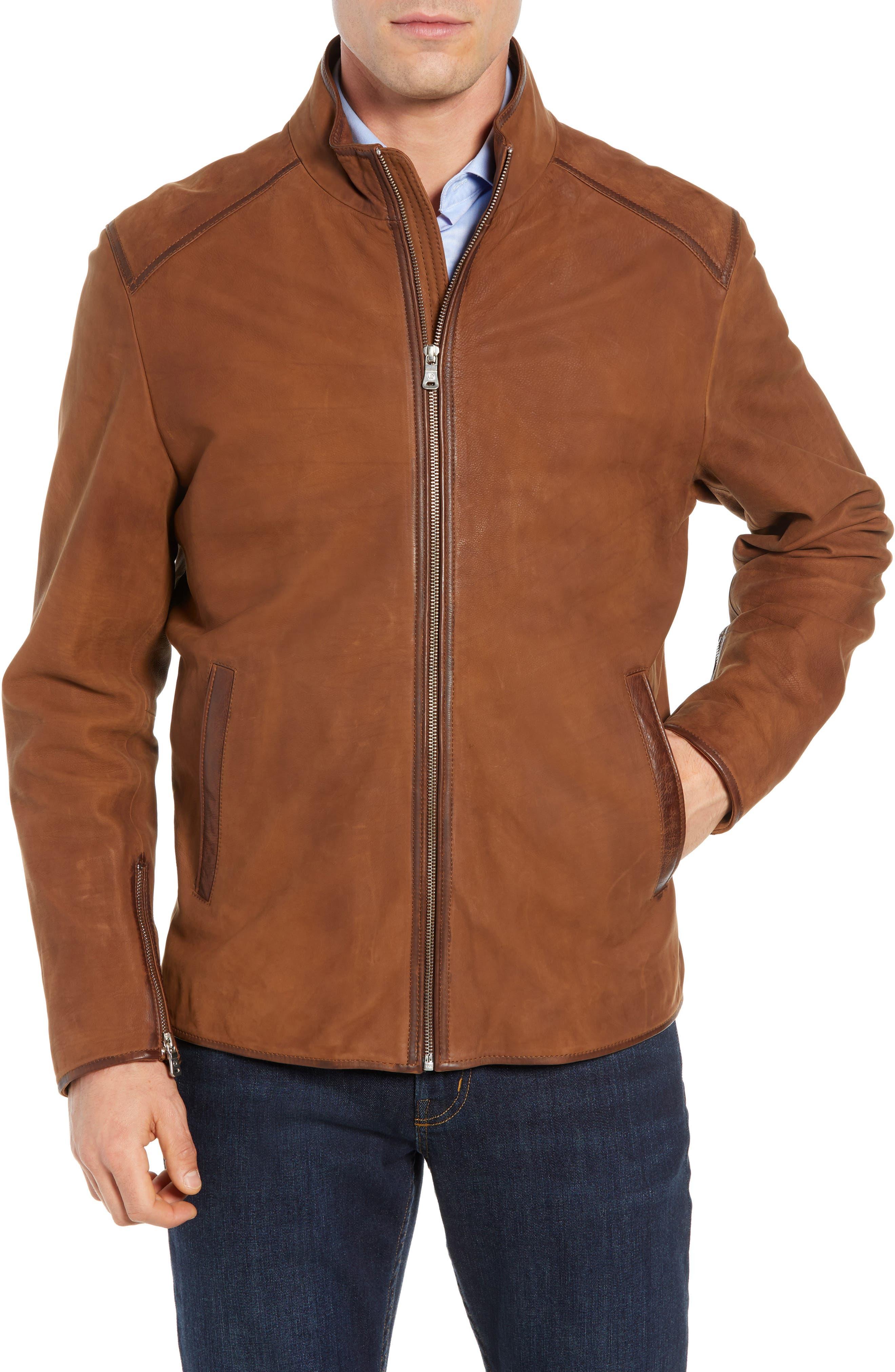 Regular Fit Leather Moto Jacket,                             Main thumbnail 1, color,                             COGNAC