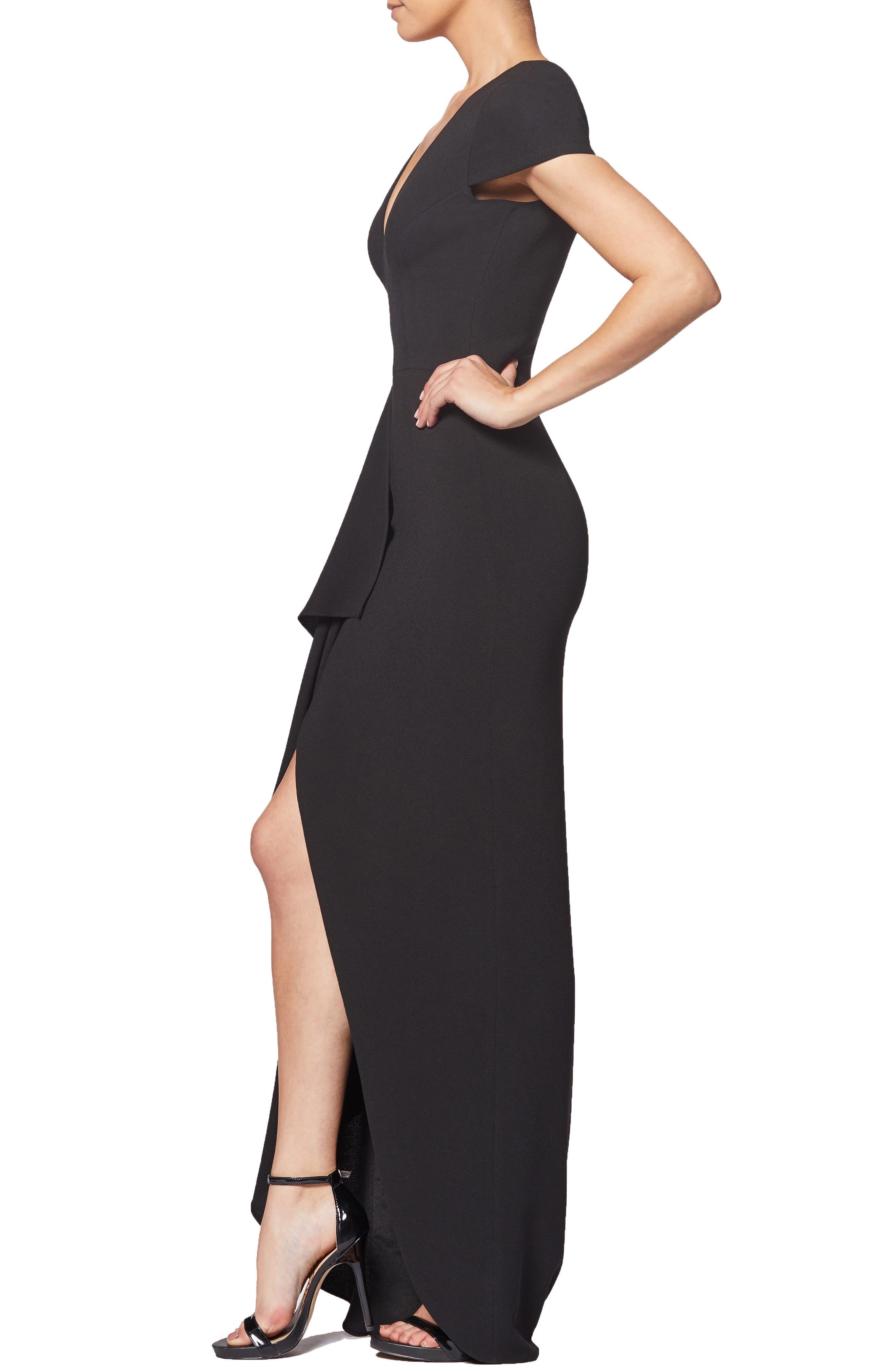 Alma Cap Sleeve Waterfall Crepe Gown,                             Alternate thumbnail 3, color,                             BLACK