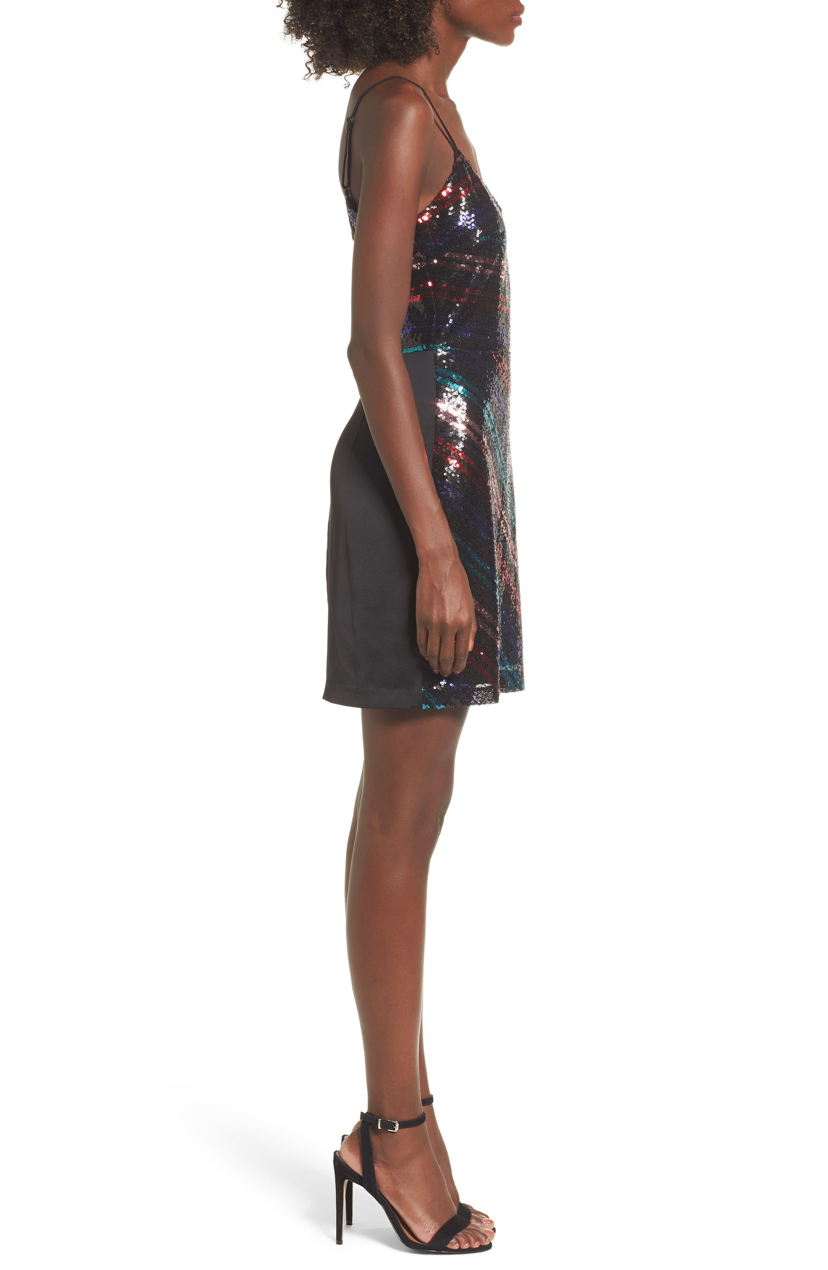 Randi Sequin Front Slip Dress,                             Alternate thumbnail 3, color,                             001