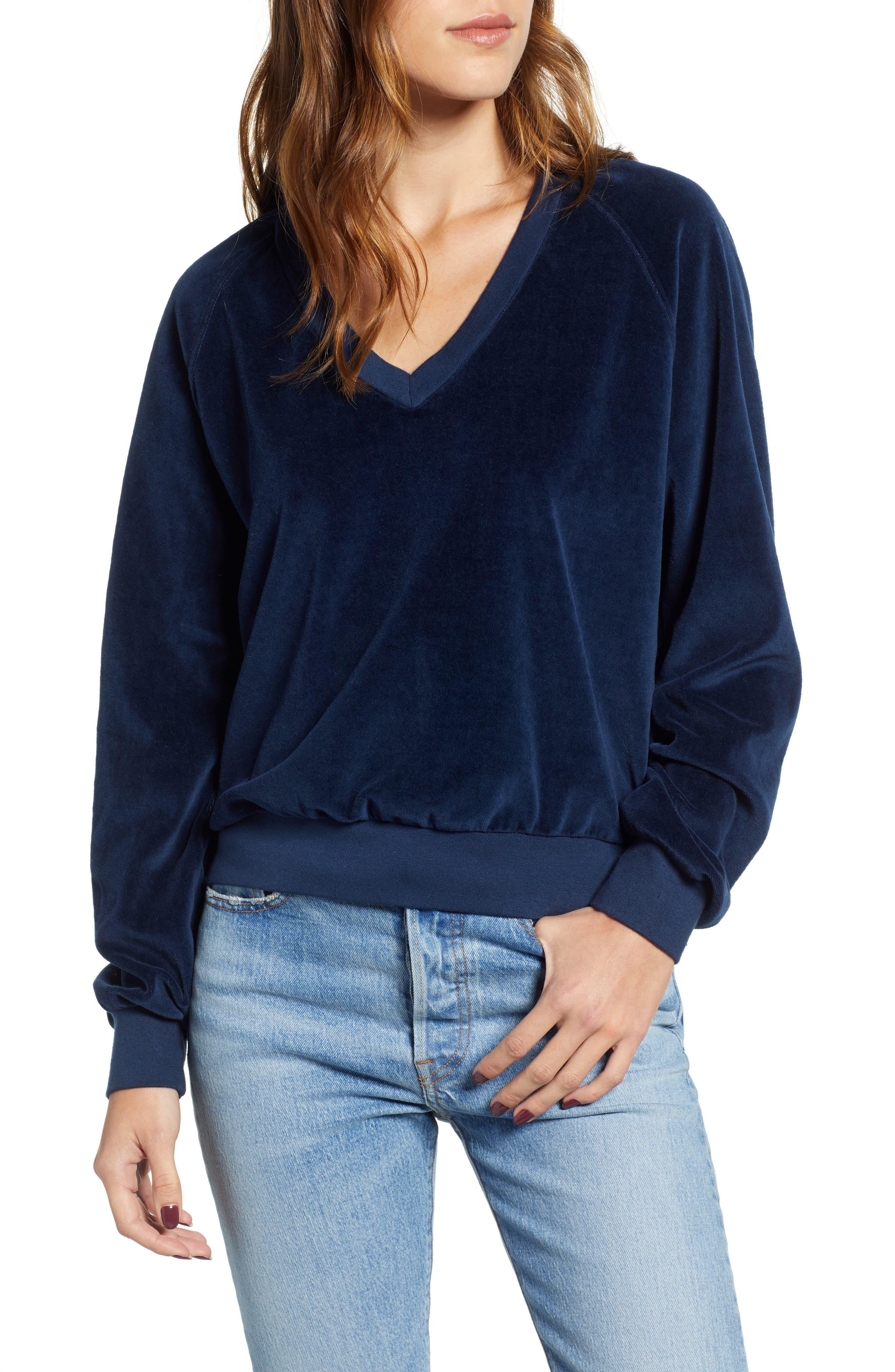 Velour Sweatshirt,                         Main,                         color, NAVY
