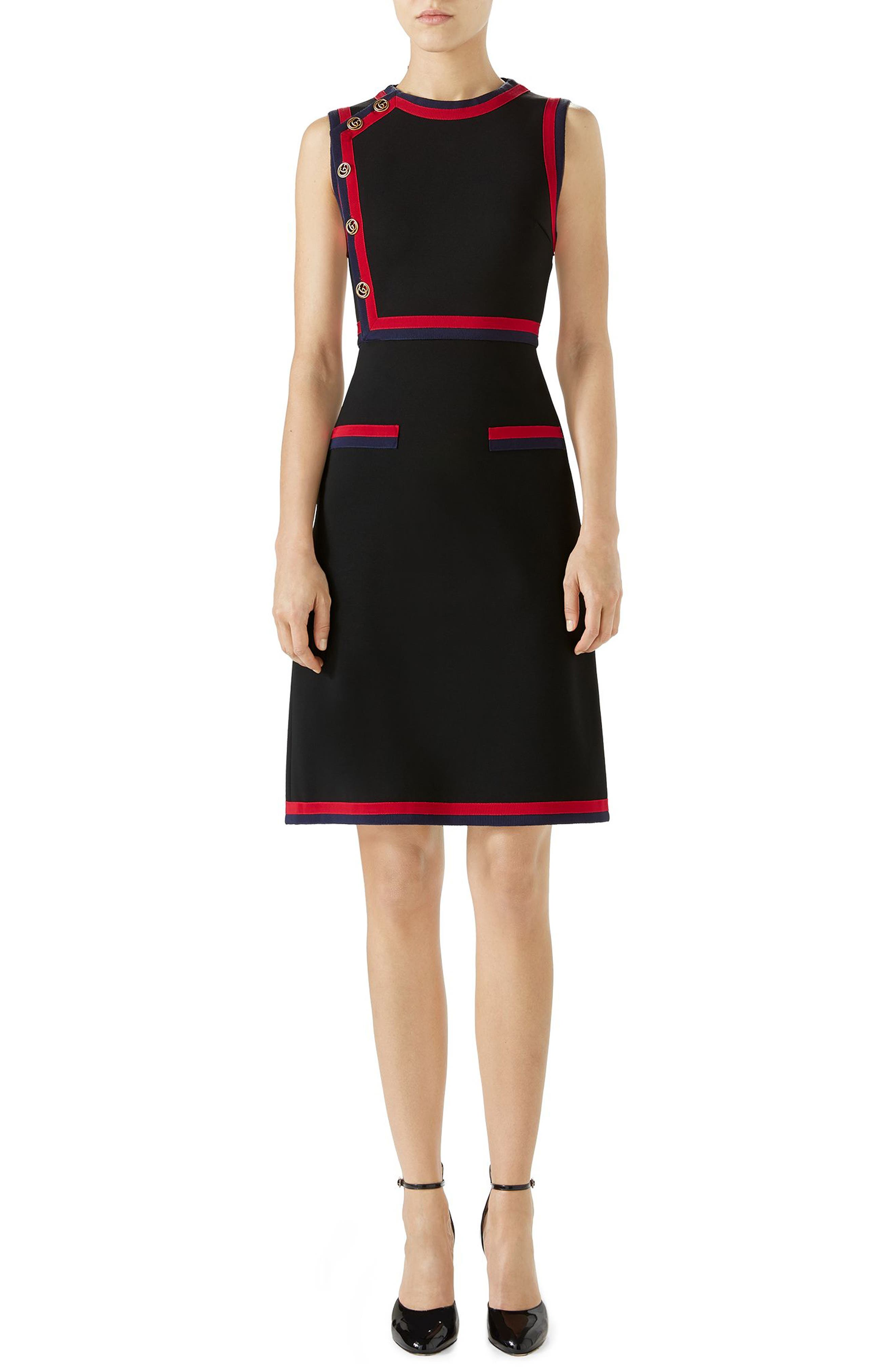 Stripe Trim Jersey A-Line Dress,                         Main,                         color, BLACK/ MULTICOLOR
