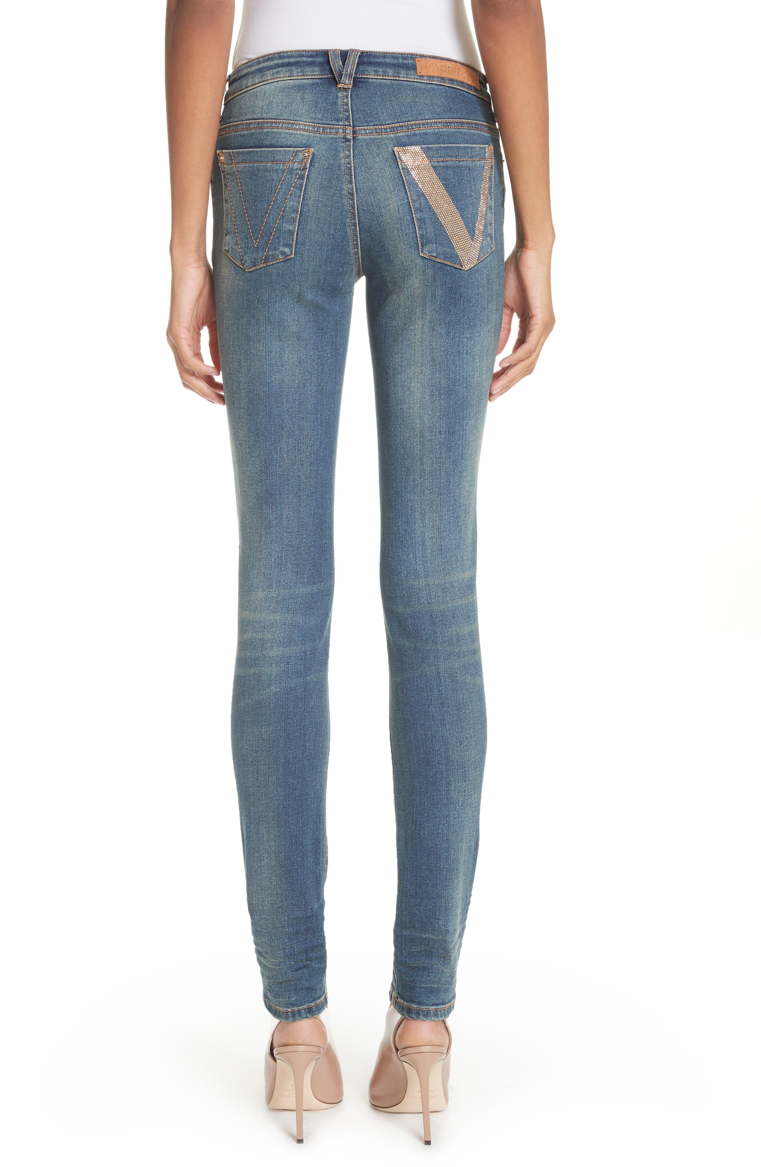 Studded Pocket Skinny Jeans,                             Alternate thumbnail 2, color,