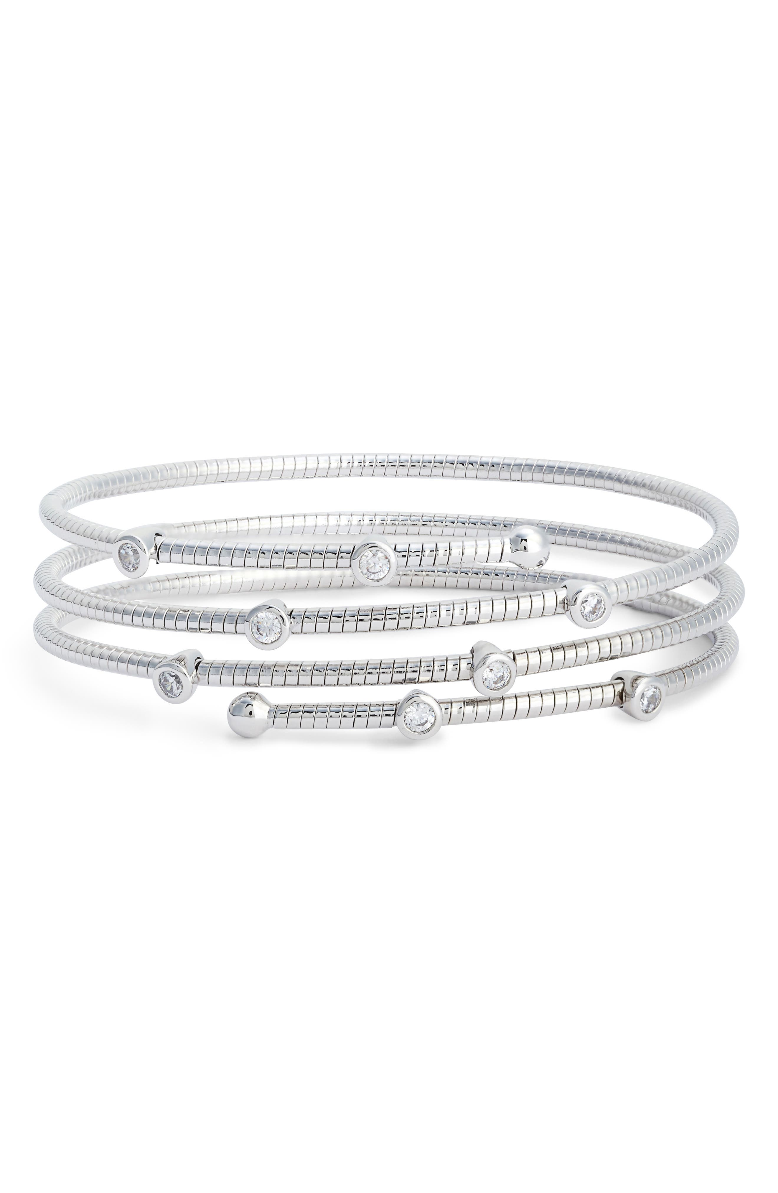 Cubic Zirconia Spiral Wrap Bracelet,                         Main,                         color, 040