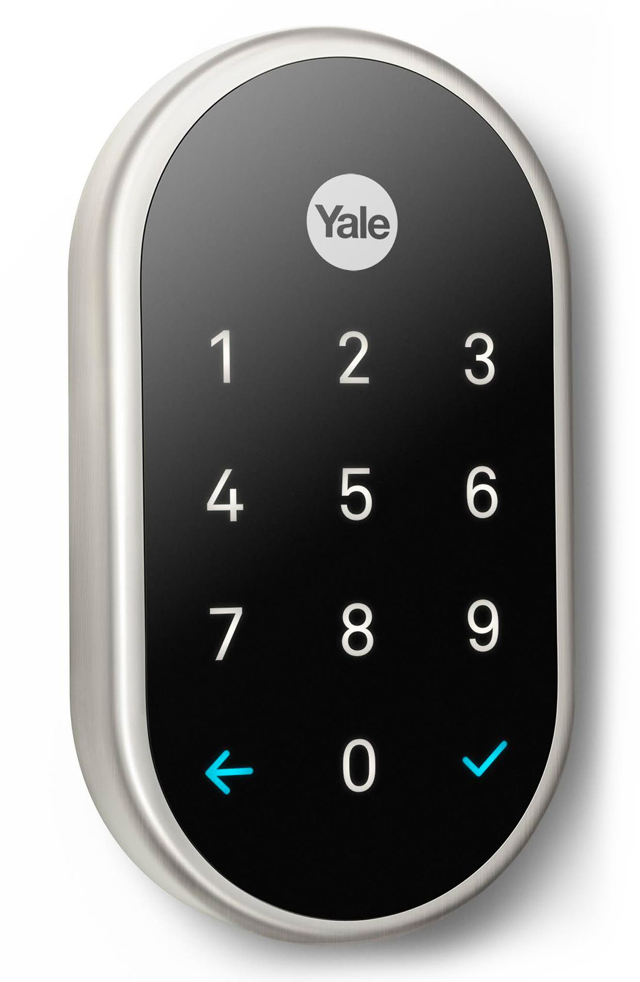x Yale Passcode Deadbolt Lock with Nest Connect,                         Main,                         color, SATIN NICKEL