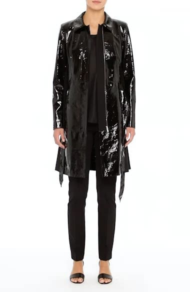 Paola Tech Combo Patent Leather Trench Coat, video thumbnail