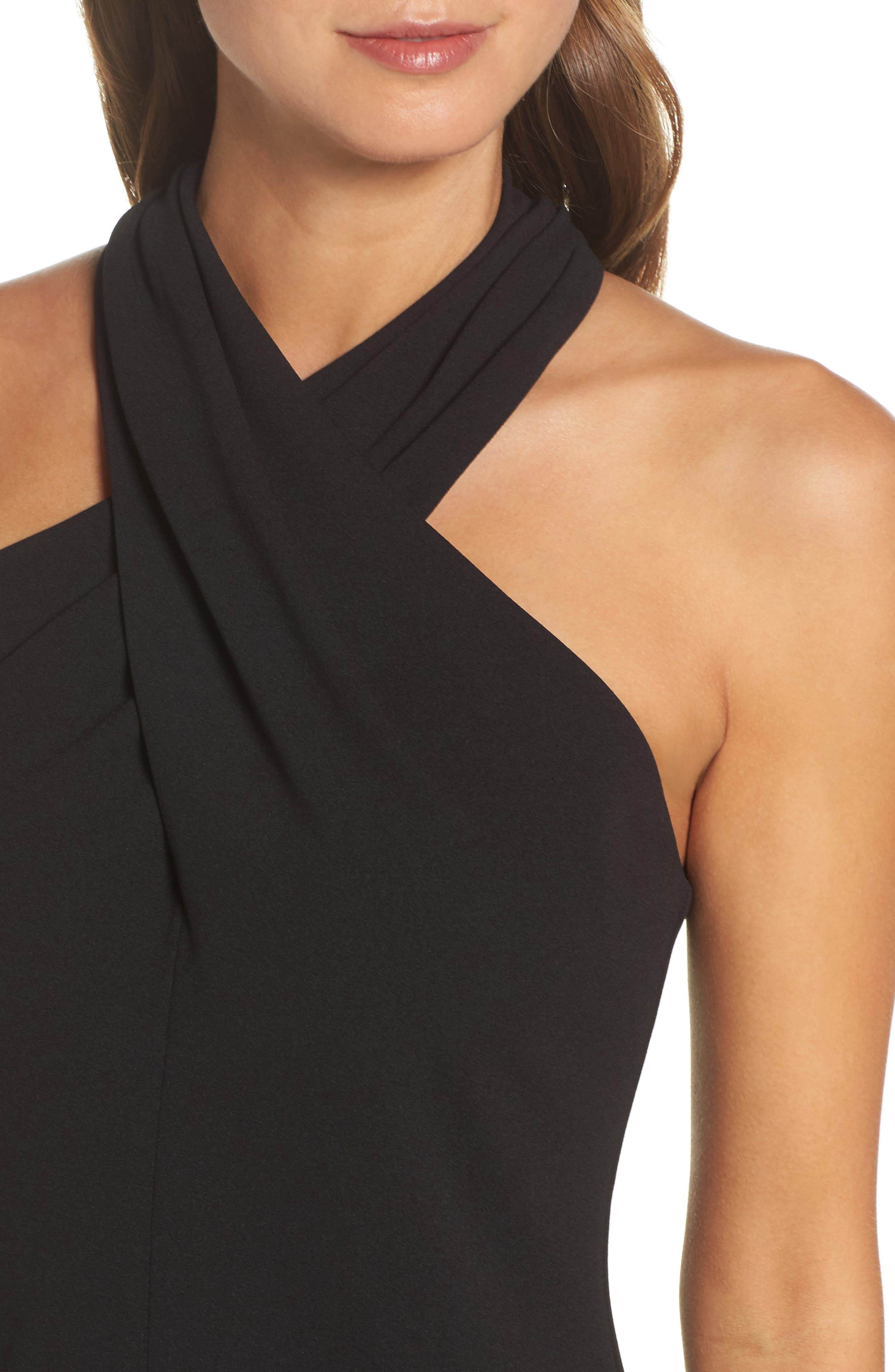 Halter Sheath Dress,                             Alternate thumbnail 4, color,                             BLACK
