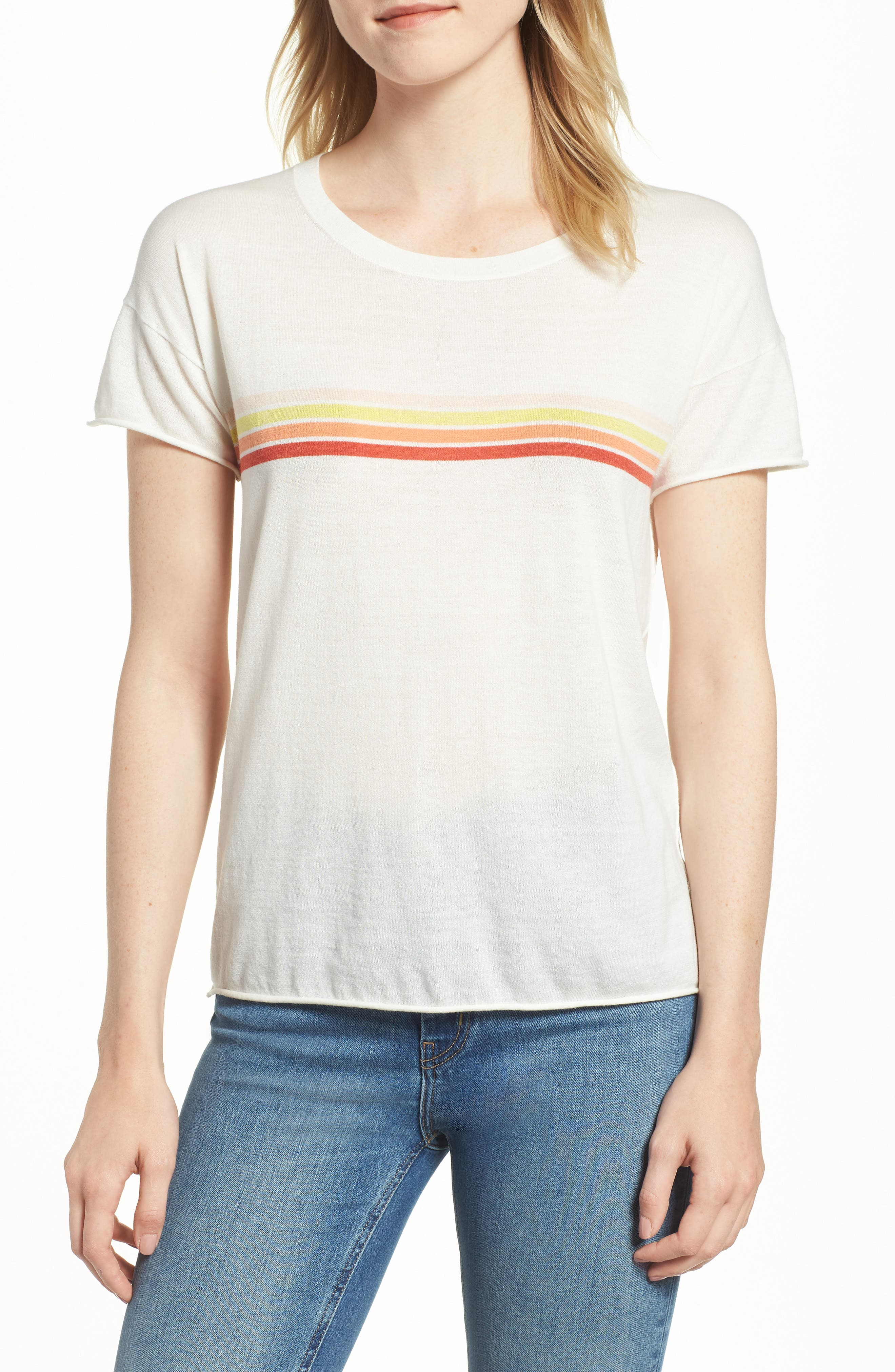 Stripe Cotton Tee,                         Main,                         color, MOON