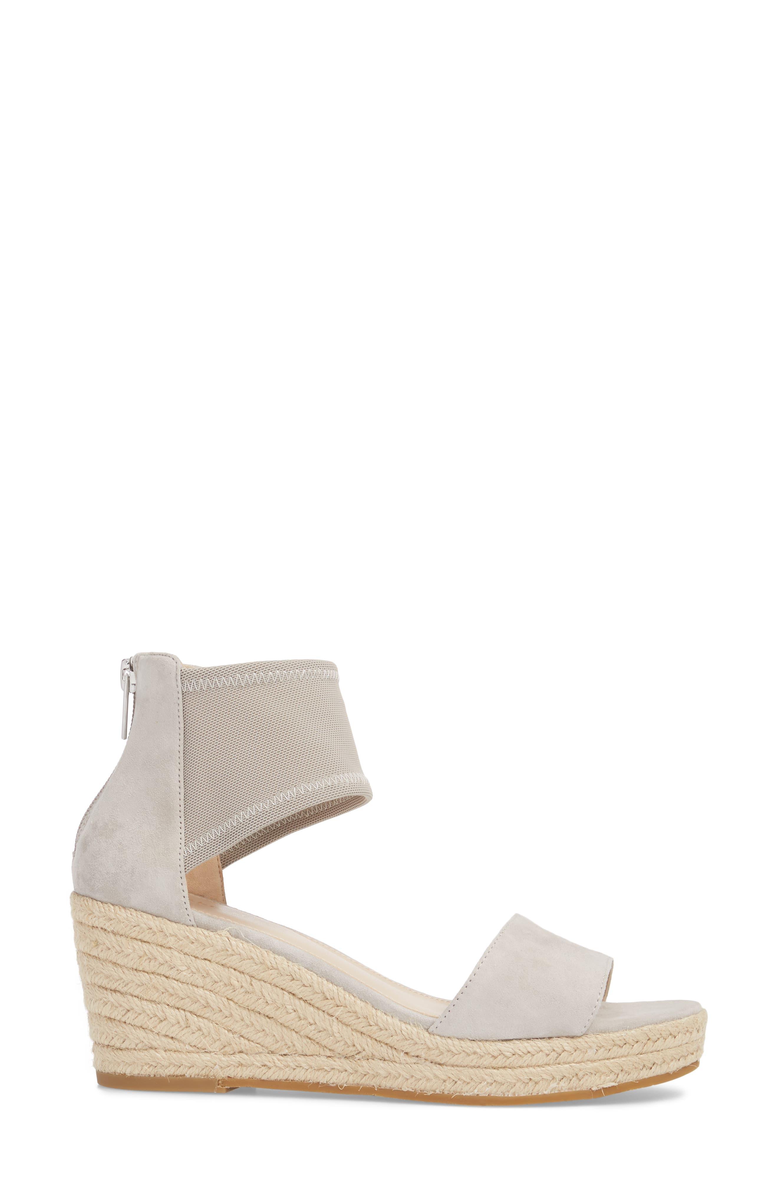 Kona Platform Wedge Sandal,                             Alternate thumbnail 3, color,                             CLOUD SUEDE