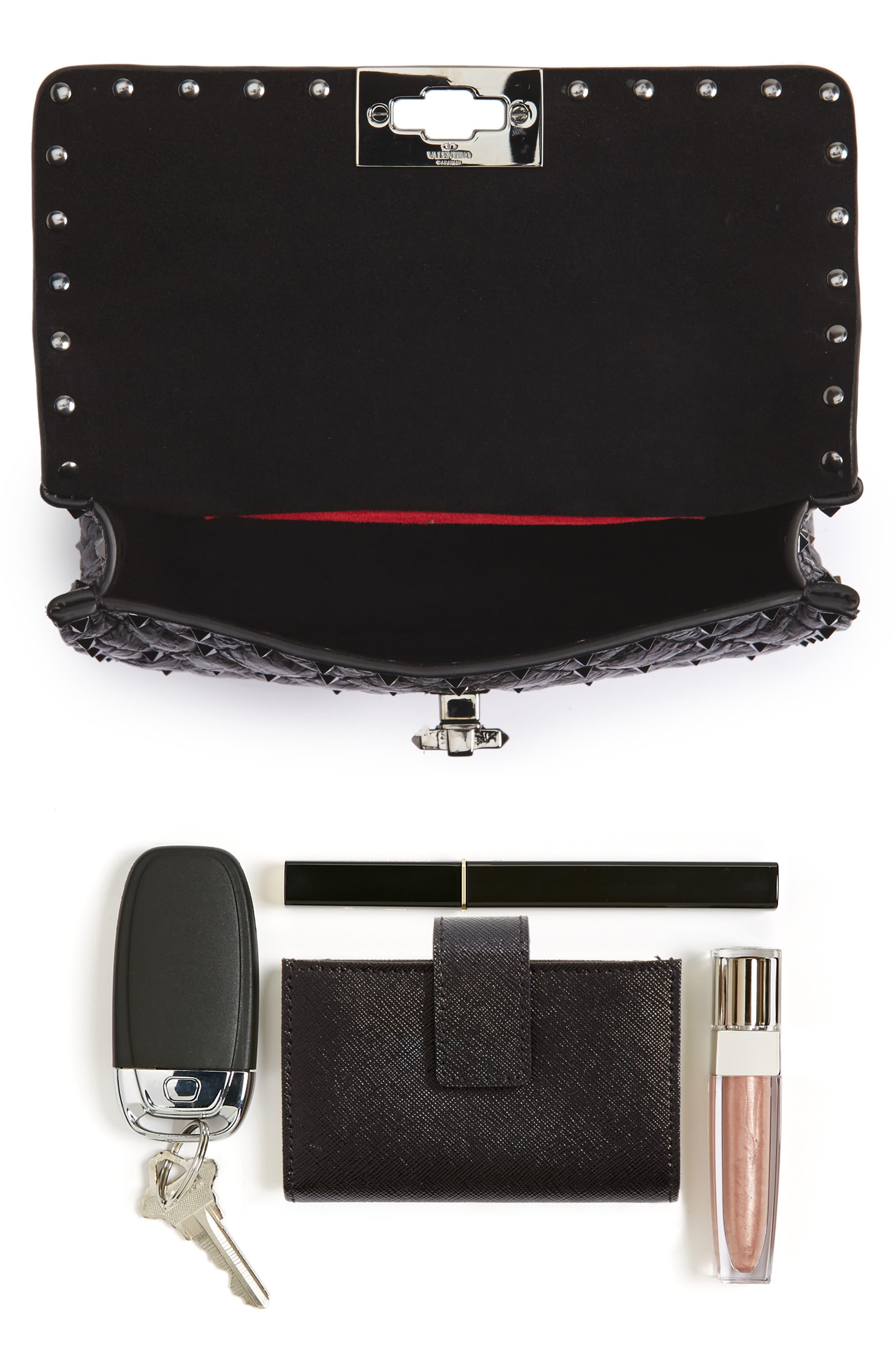 Vitello Rockstud Leather Shoulder Bag,                             Alternate thumbnail 7, color,                             001