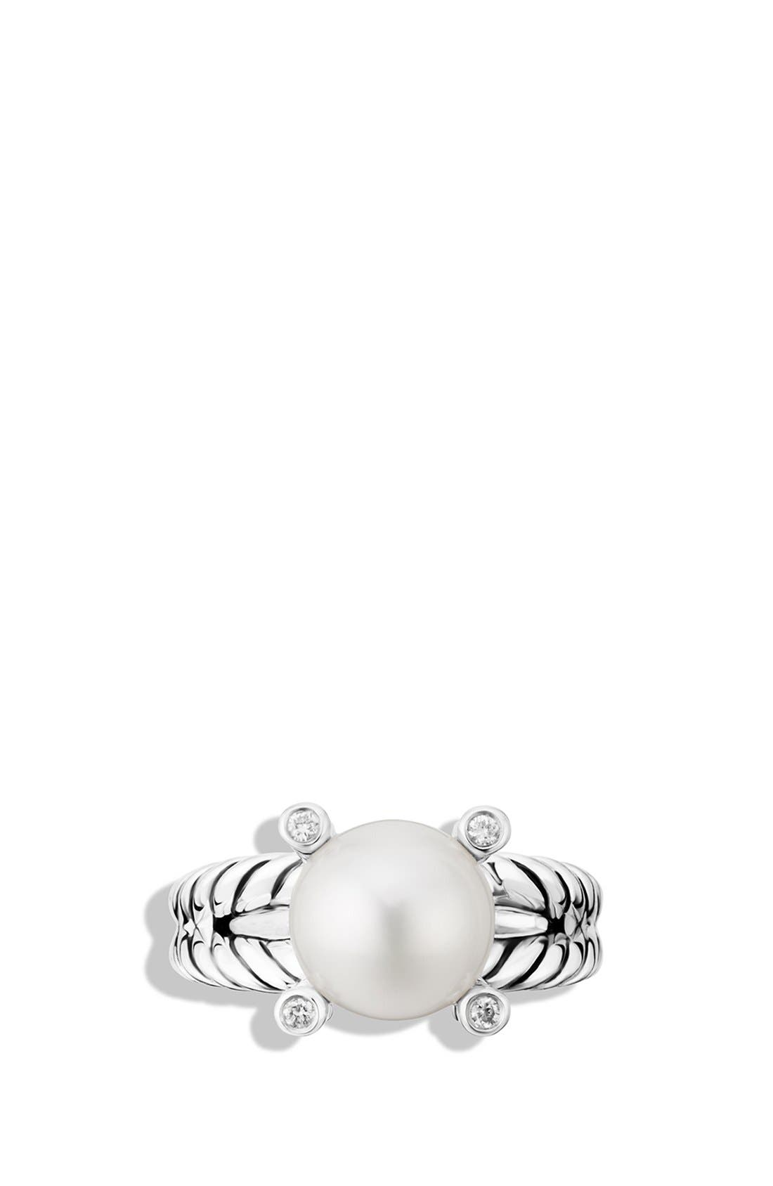 Cable Pearl Ring with Diamonds,                             Alternate thumbnail 3, color,                             PEARL