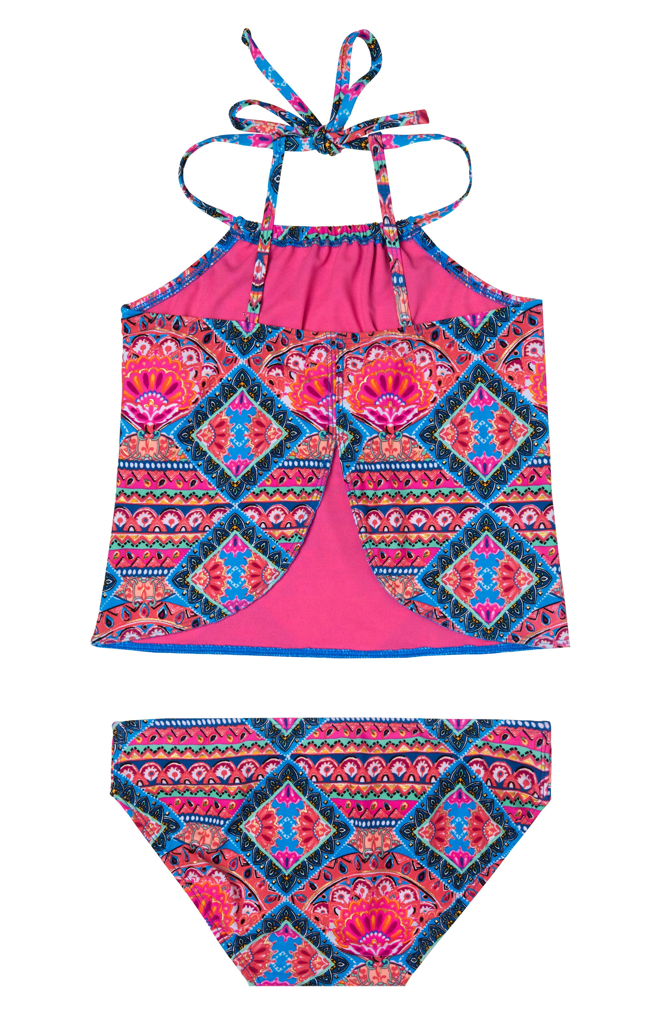 Mixed Print Two-Piece Swimsuit,                             Alternate thumbnail 2, color,                             PINK