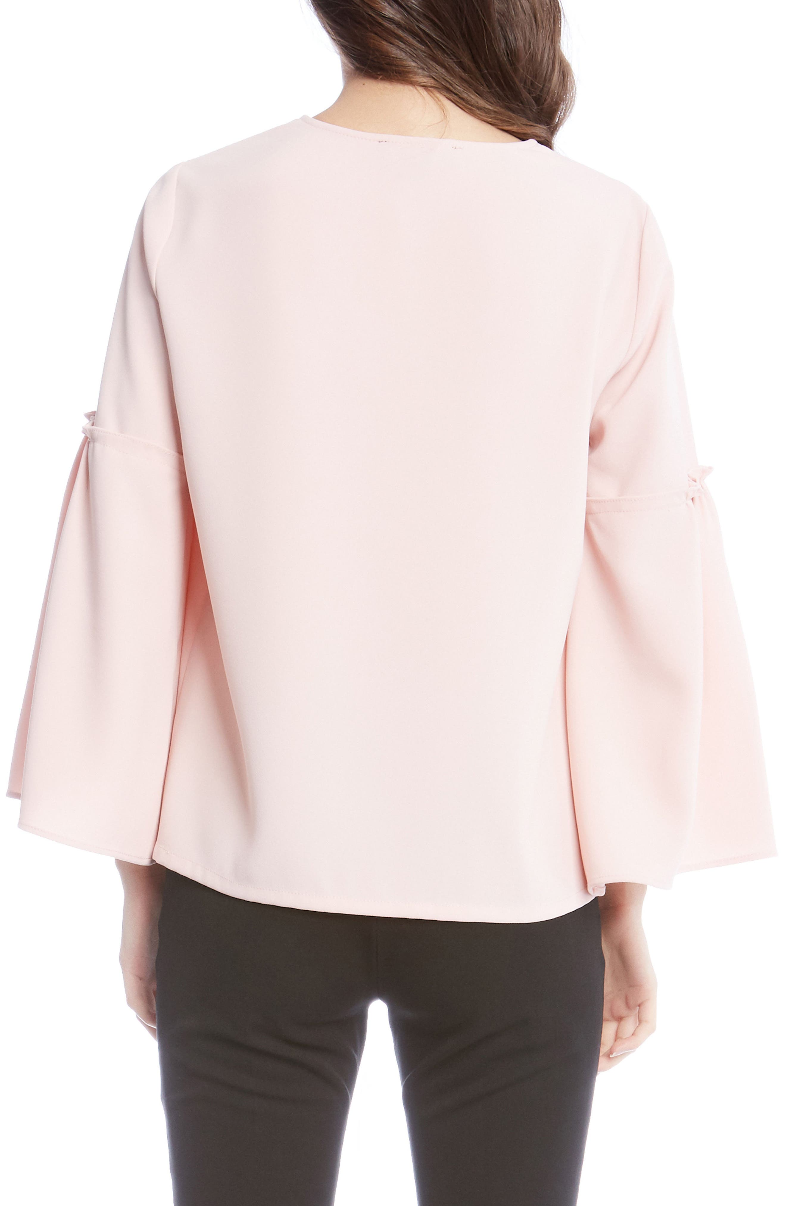 Bell Sleeve Crepe Top,                             Alternate thumbnail 4, color,