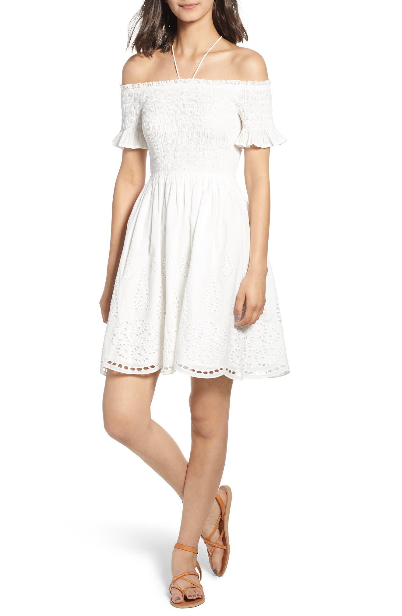 Smocked Off the Shoulder Dress,                         Main,                         color, WHITE EYELET