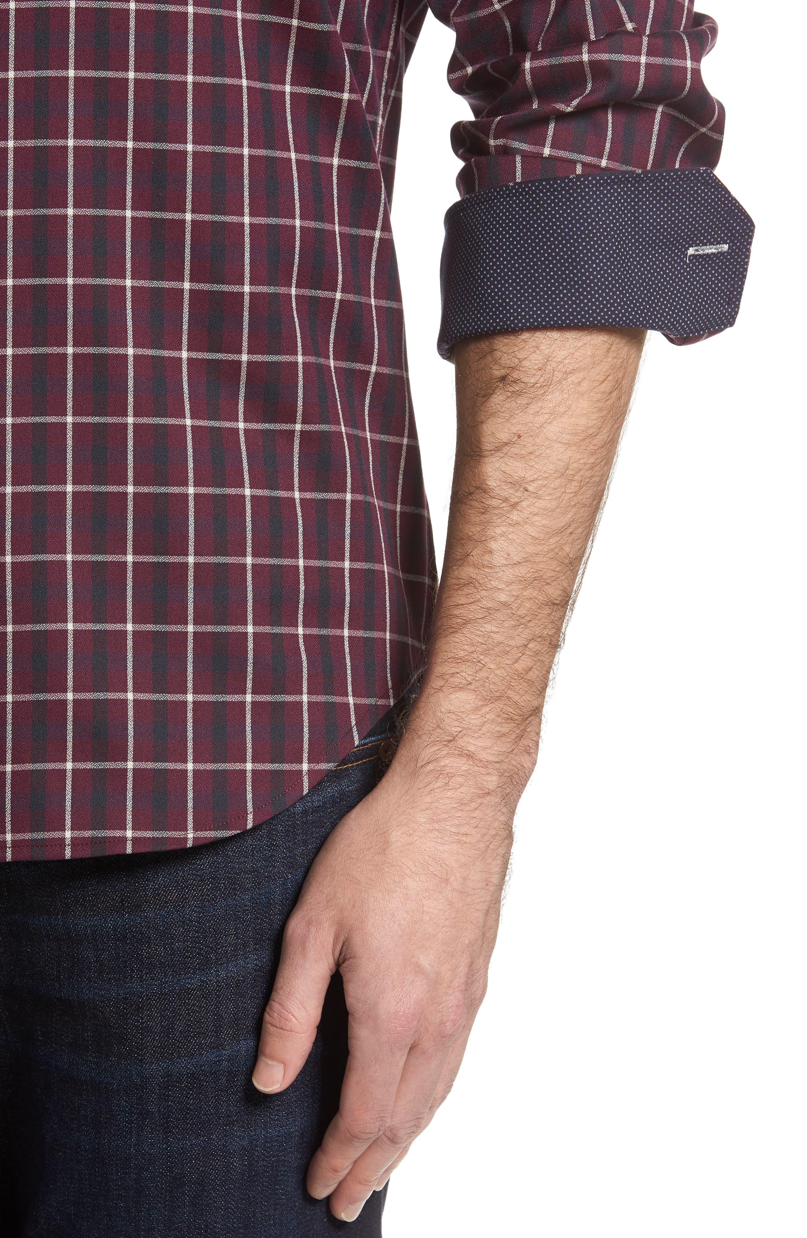 Shaped Fit Plaid Sport Shirt,                             Alternate thumbnail 4, color,                             610