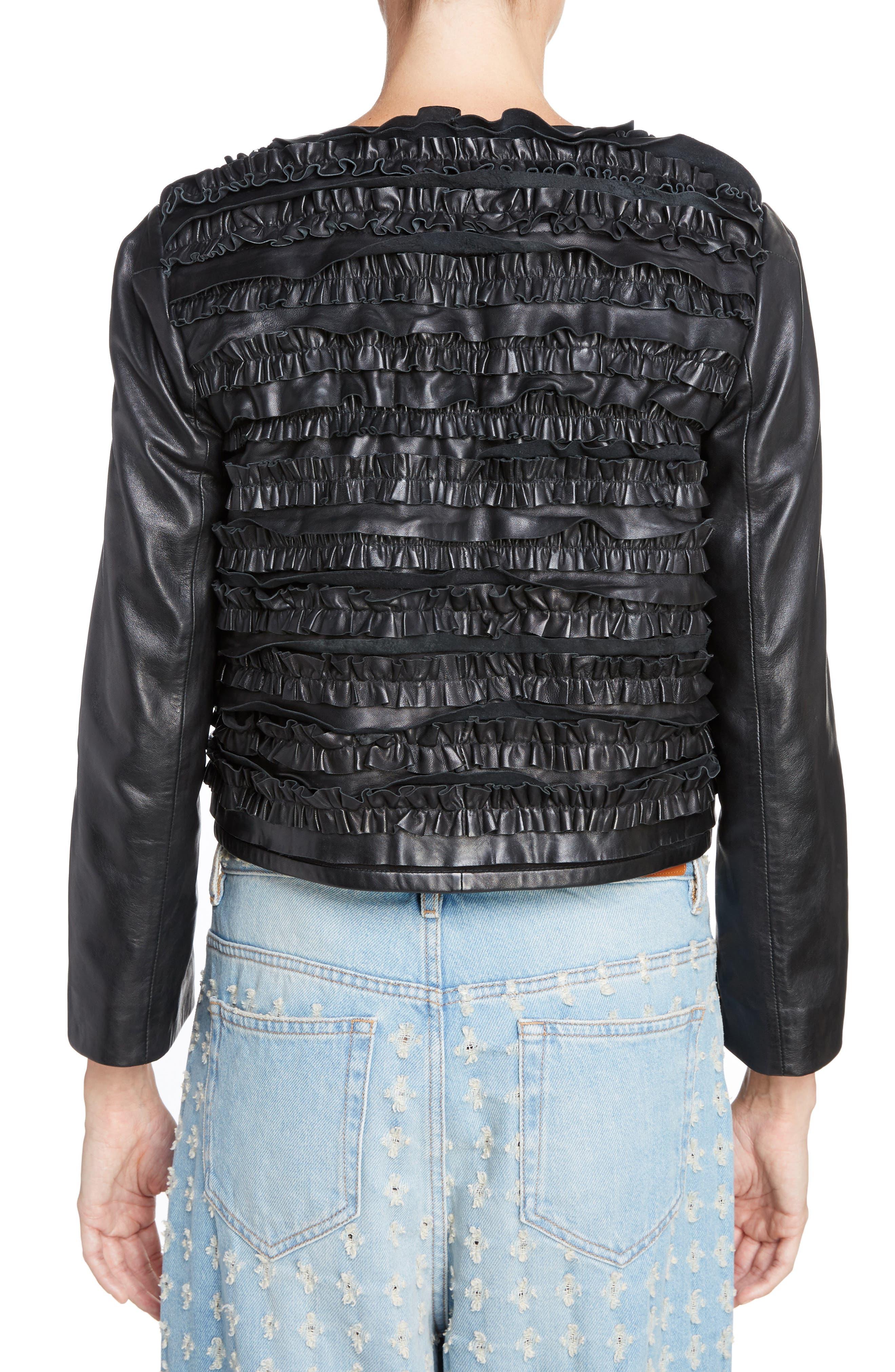 Isabel Marant Étoile Abella Frill Leather Jacket,                             Alternate thumbnail 2, color,