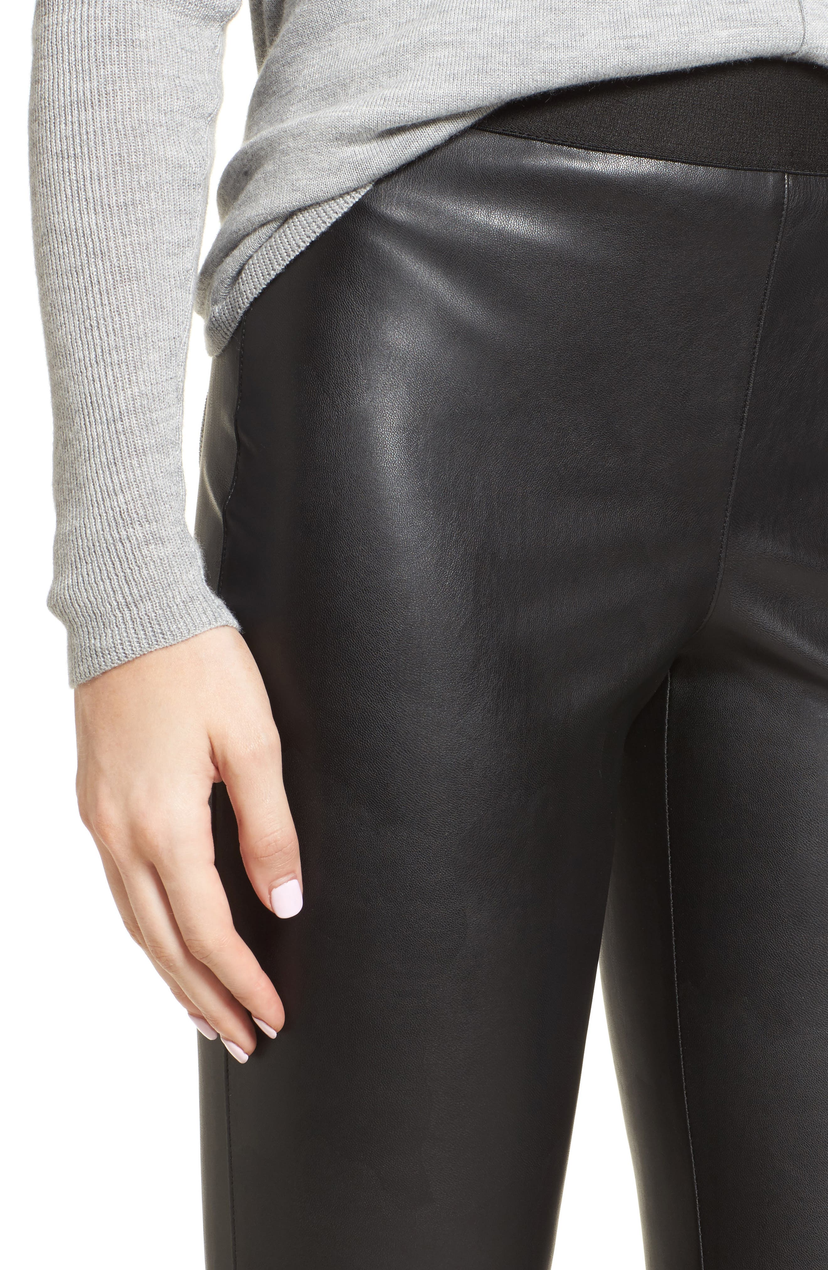 Lupine Crop Flare Faux Leather Pants,                             Alternate thumbnail 4, color,                             001