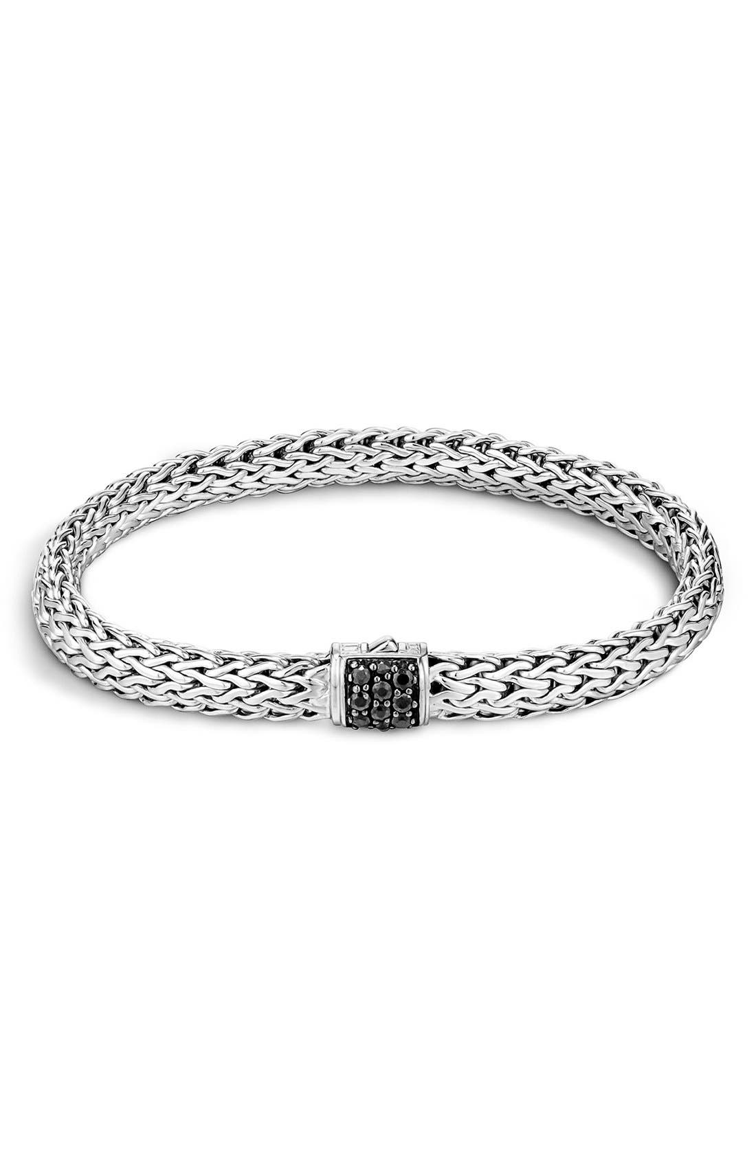 Classic Chain 6.5mm Bracelet,                         Main,                         color, SILVER/ BLACK SAPPHIRE