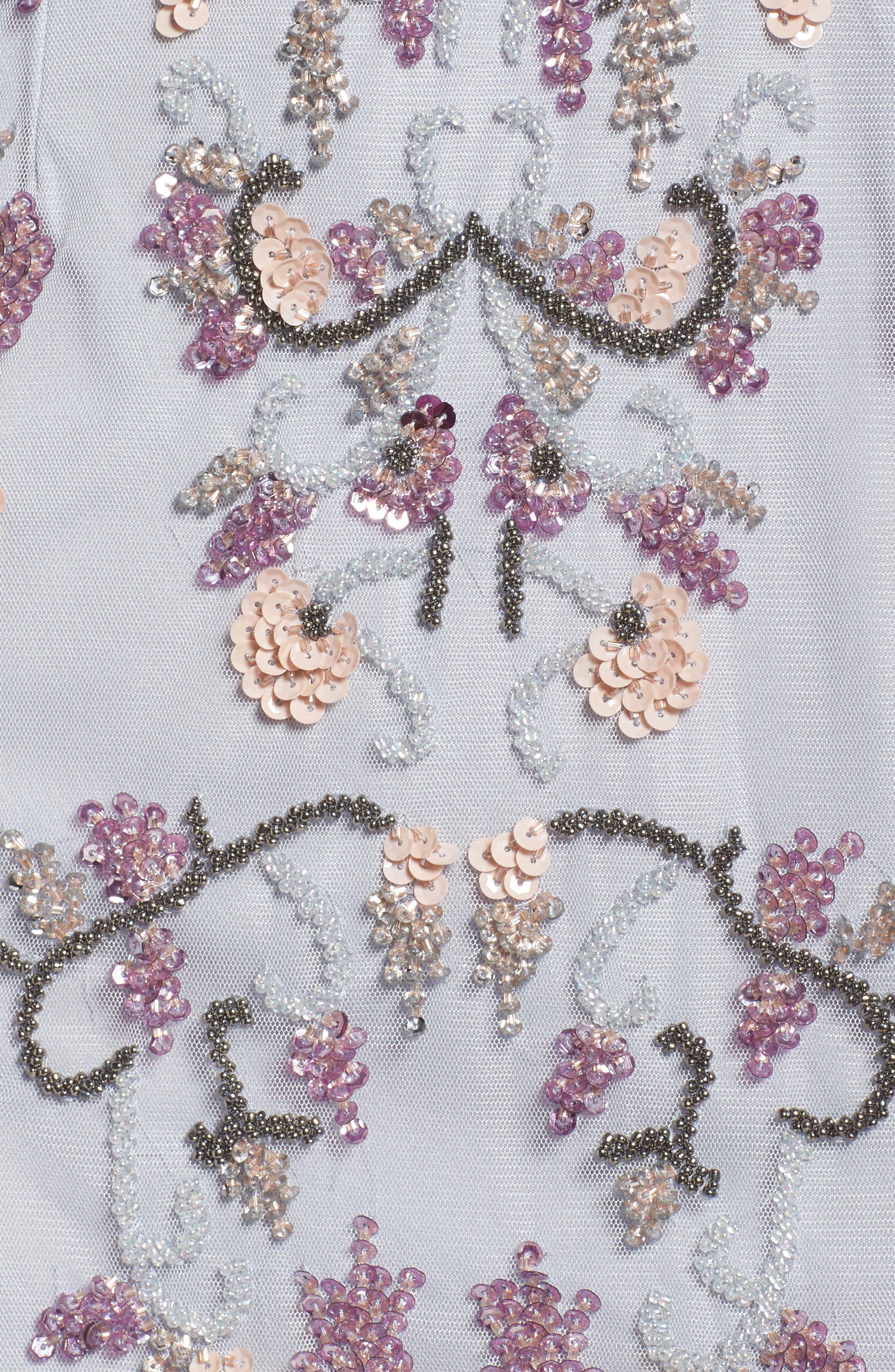 Embellished Blouson Cocktail Dress,                             Alternate thumbnail 5, color,                             098