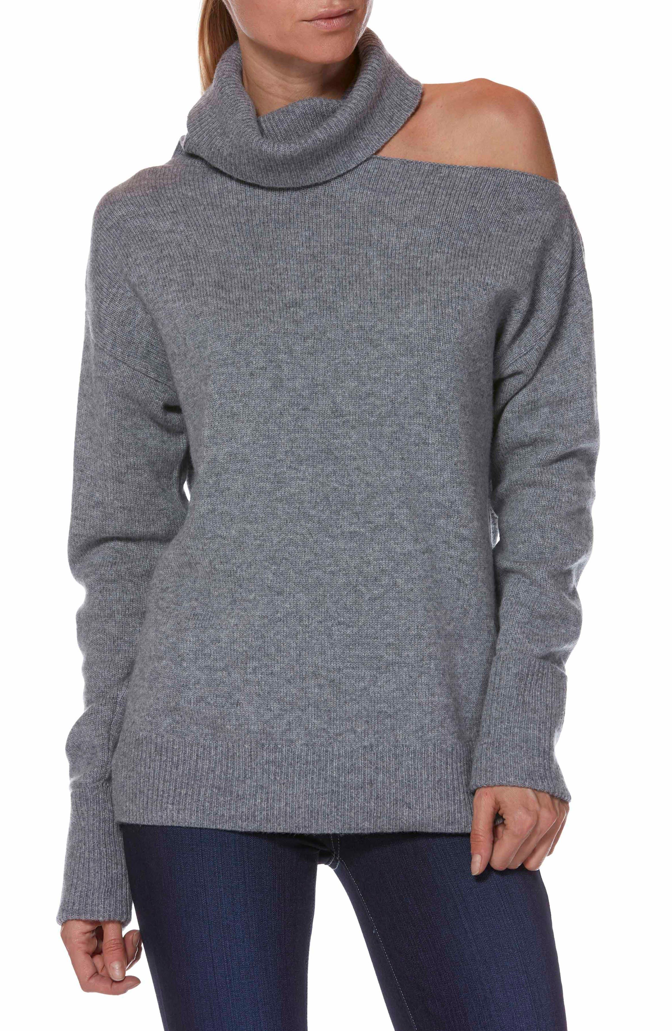 Raundi Cutout Shoulder Sweater,                             Main thumbnail 1, color,                             HEATHER GREY