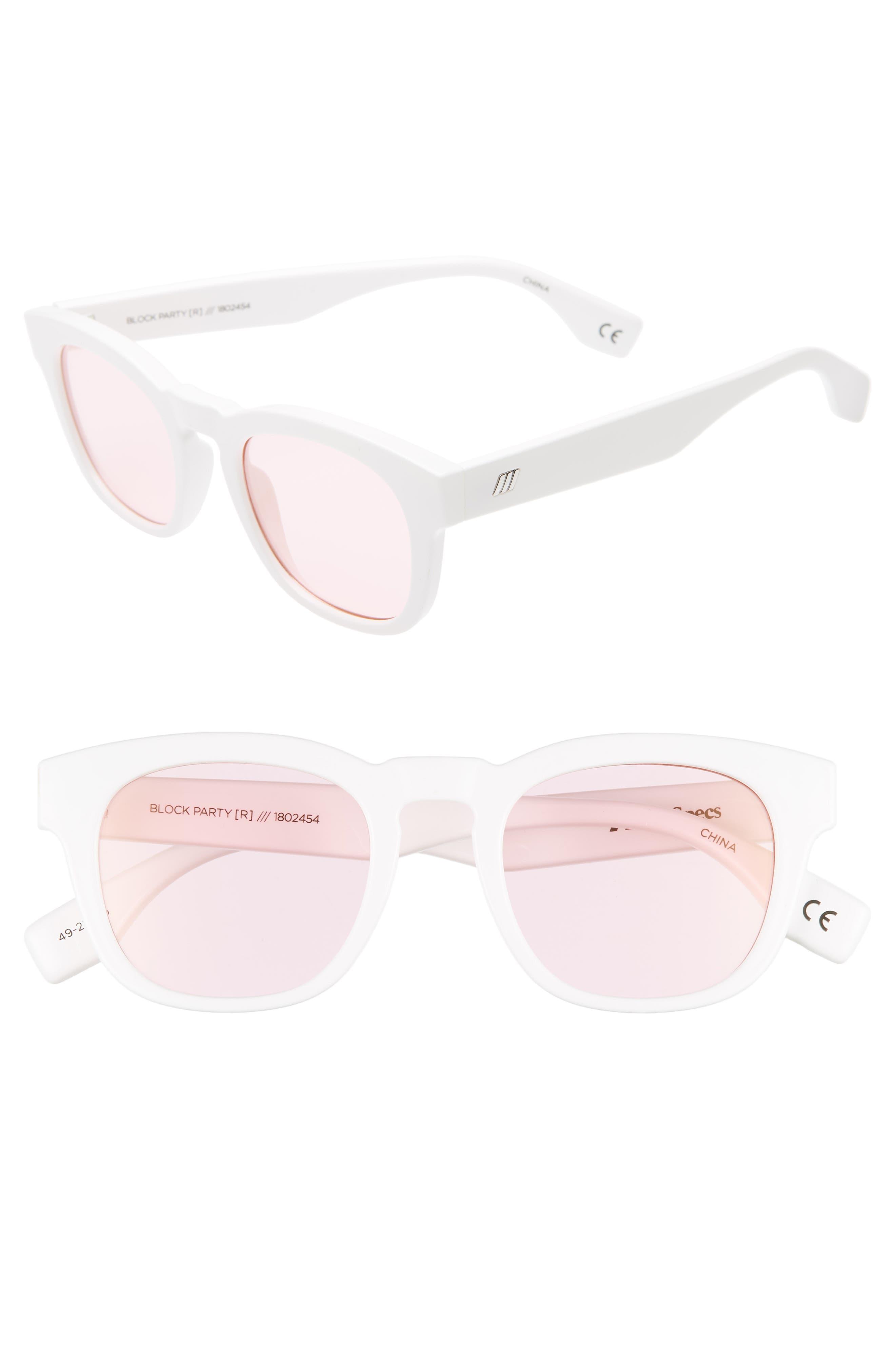 Le Specs Block Party 4m Round Sunglasses - Optic White