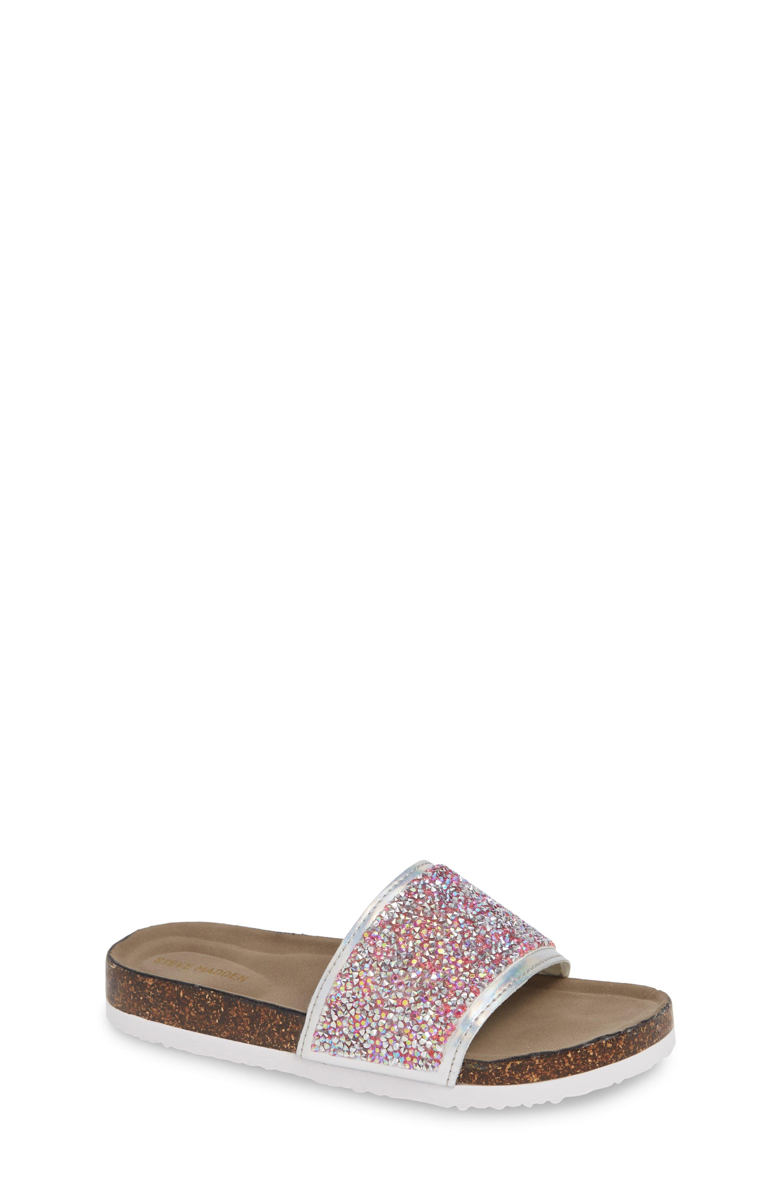 JShineon Sparkle Slide Sandal,                             Main thumbnail 1, color,                             PINK MULTI