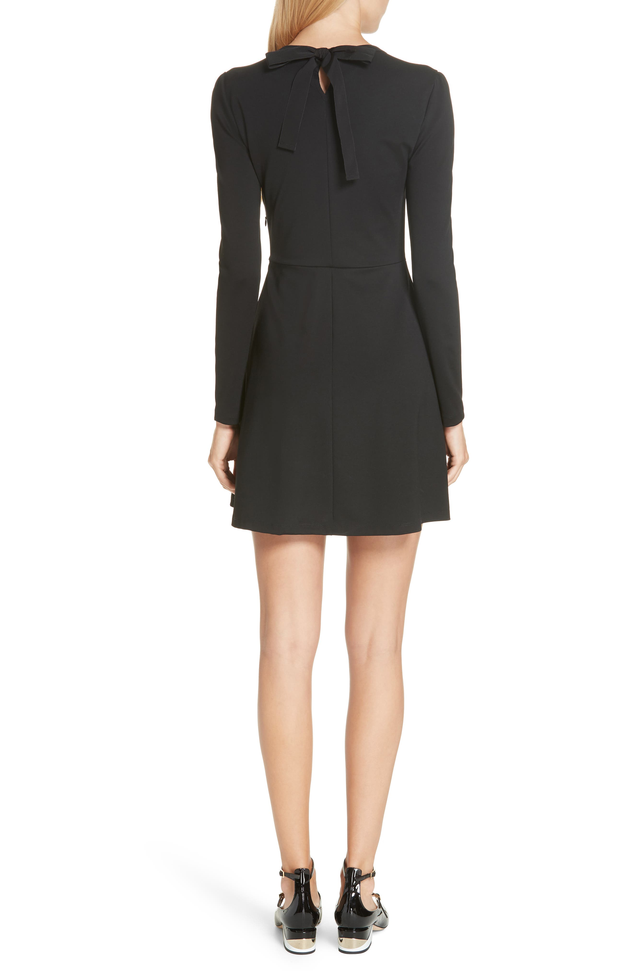 Point d'Esprit Yoke Dress,                             Alternate thumbnail 2, color,                             BLACK