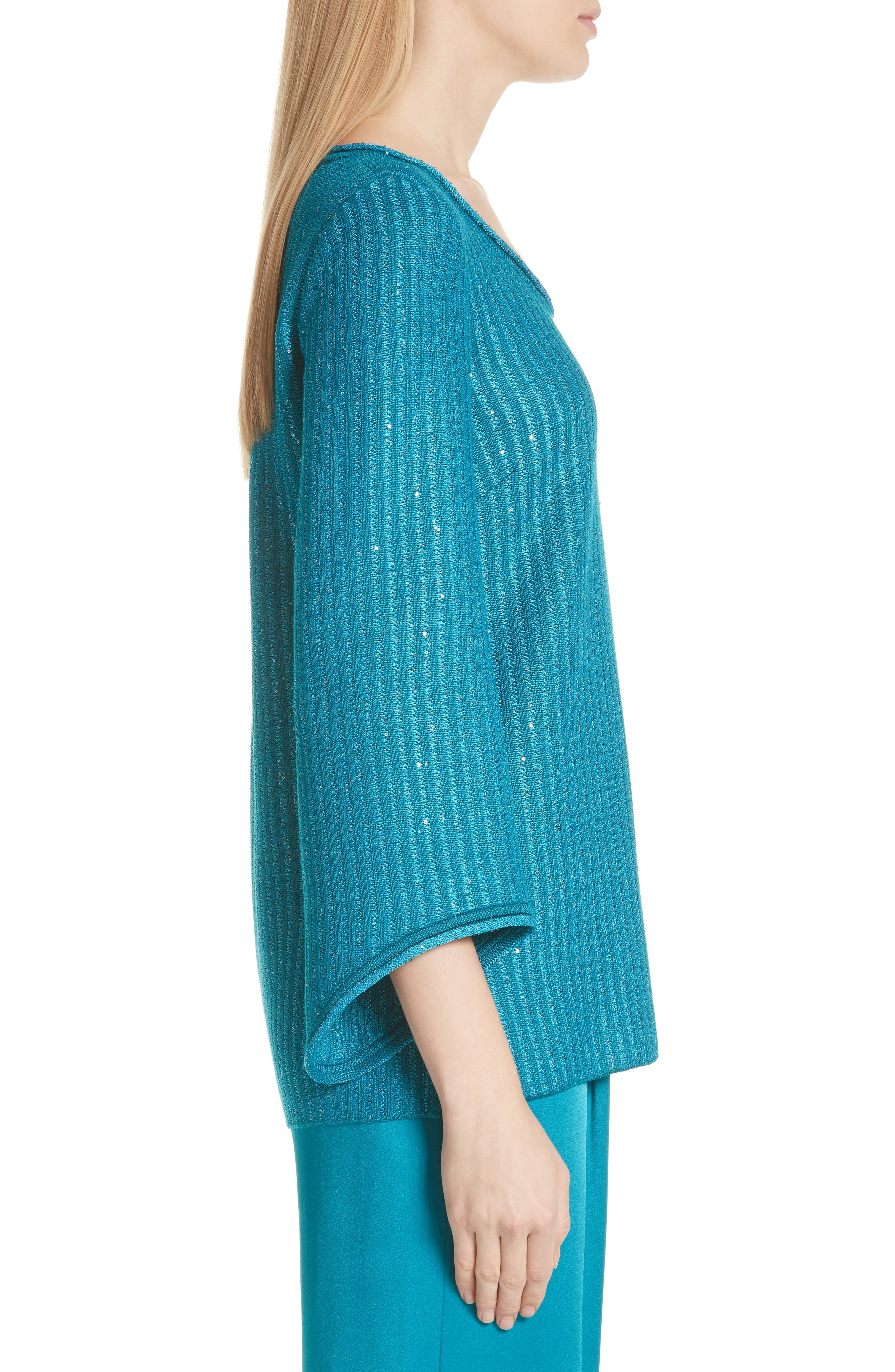 Sequin Rib Knit Sweater,                             Alternate thumbnail 3, color,                             CERULEAN