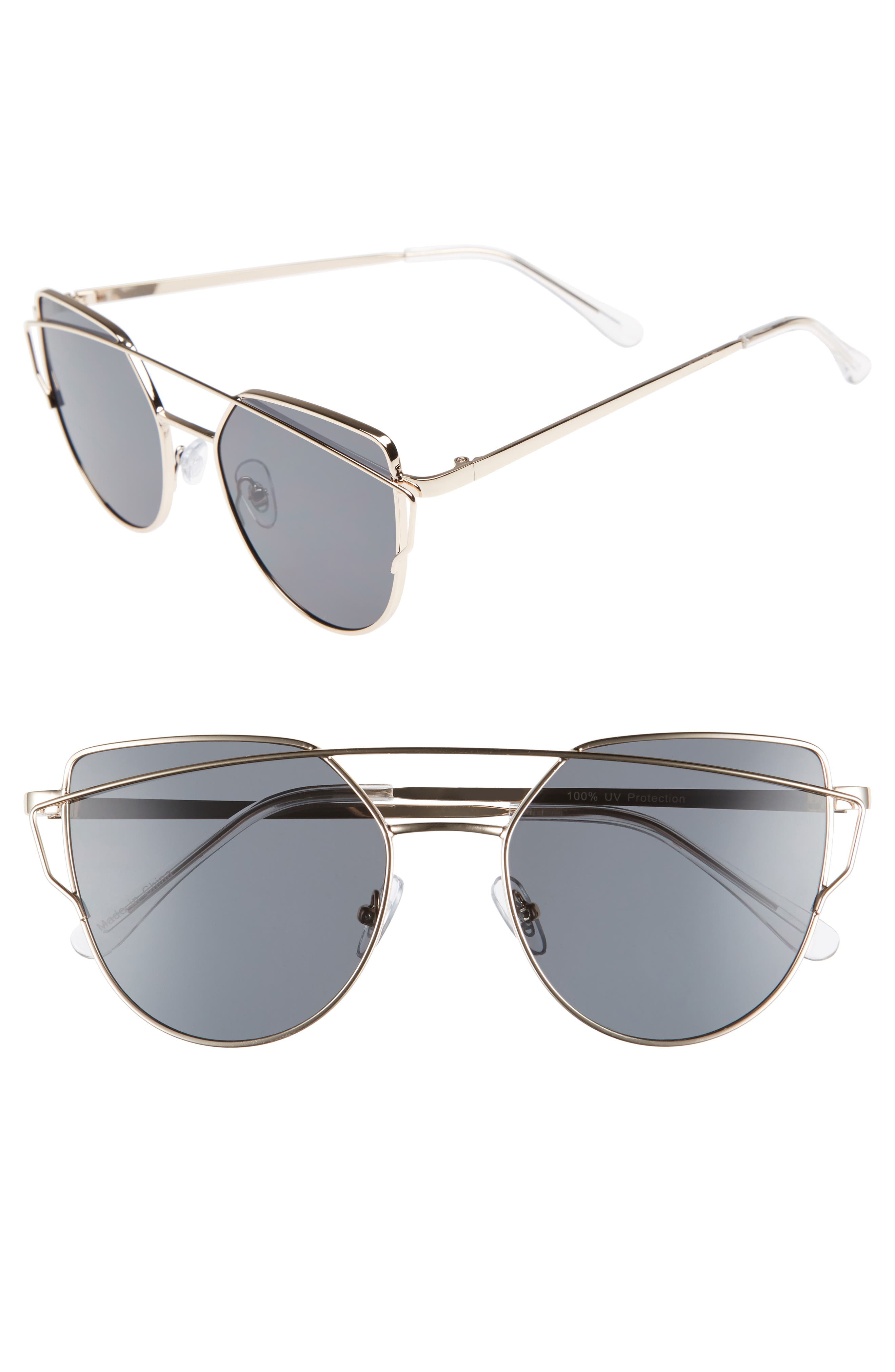 51mm Thin Brow Angular Aviator Sunglasses,                             Main thumbnail 7, color,