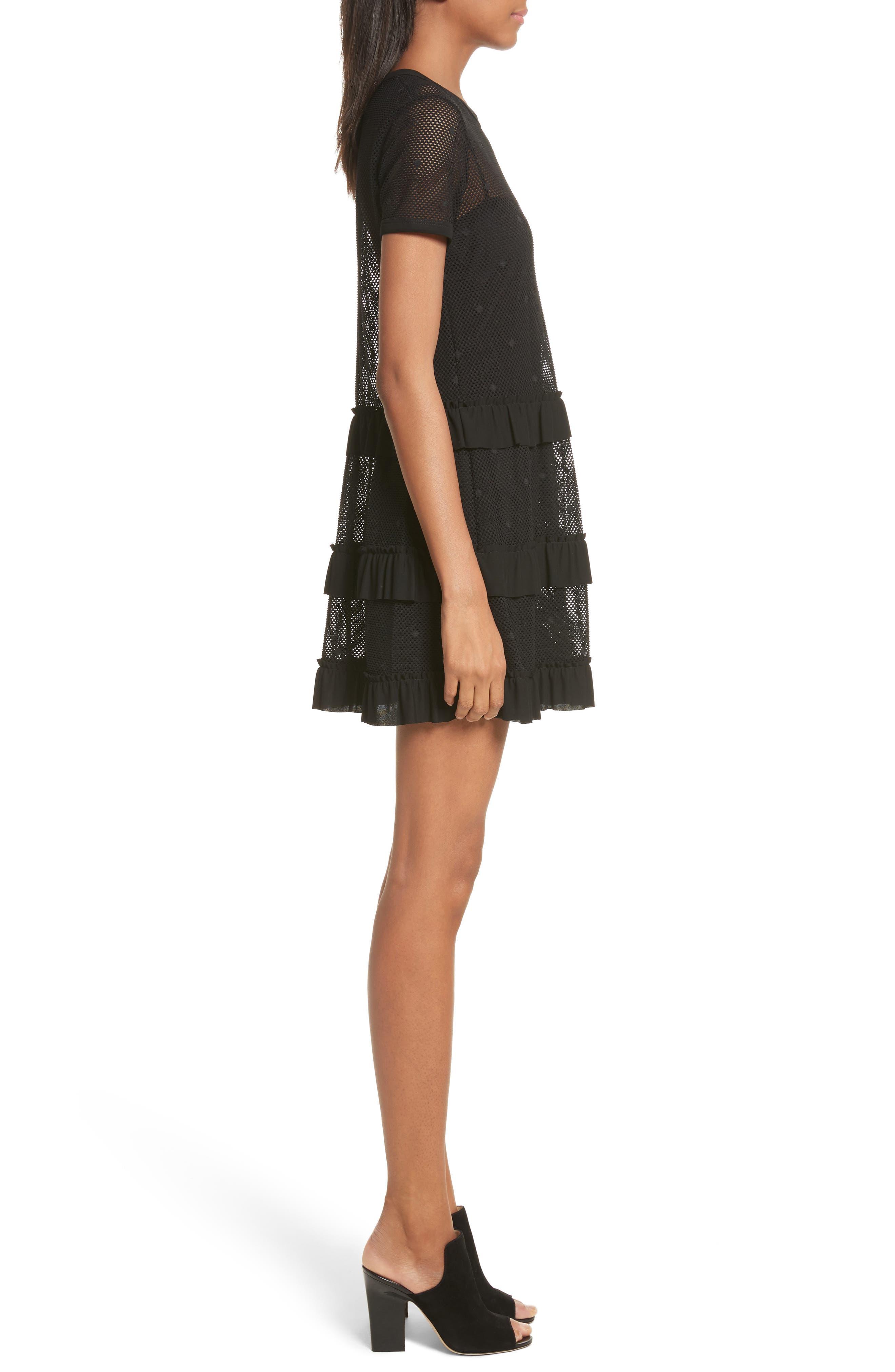 Jersey Mesh Point d'Esprit Dress,                             Alternate thumbnail 3, color,