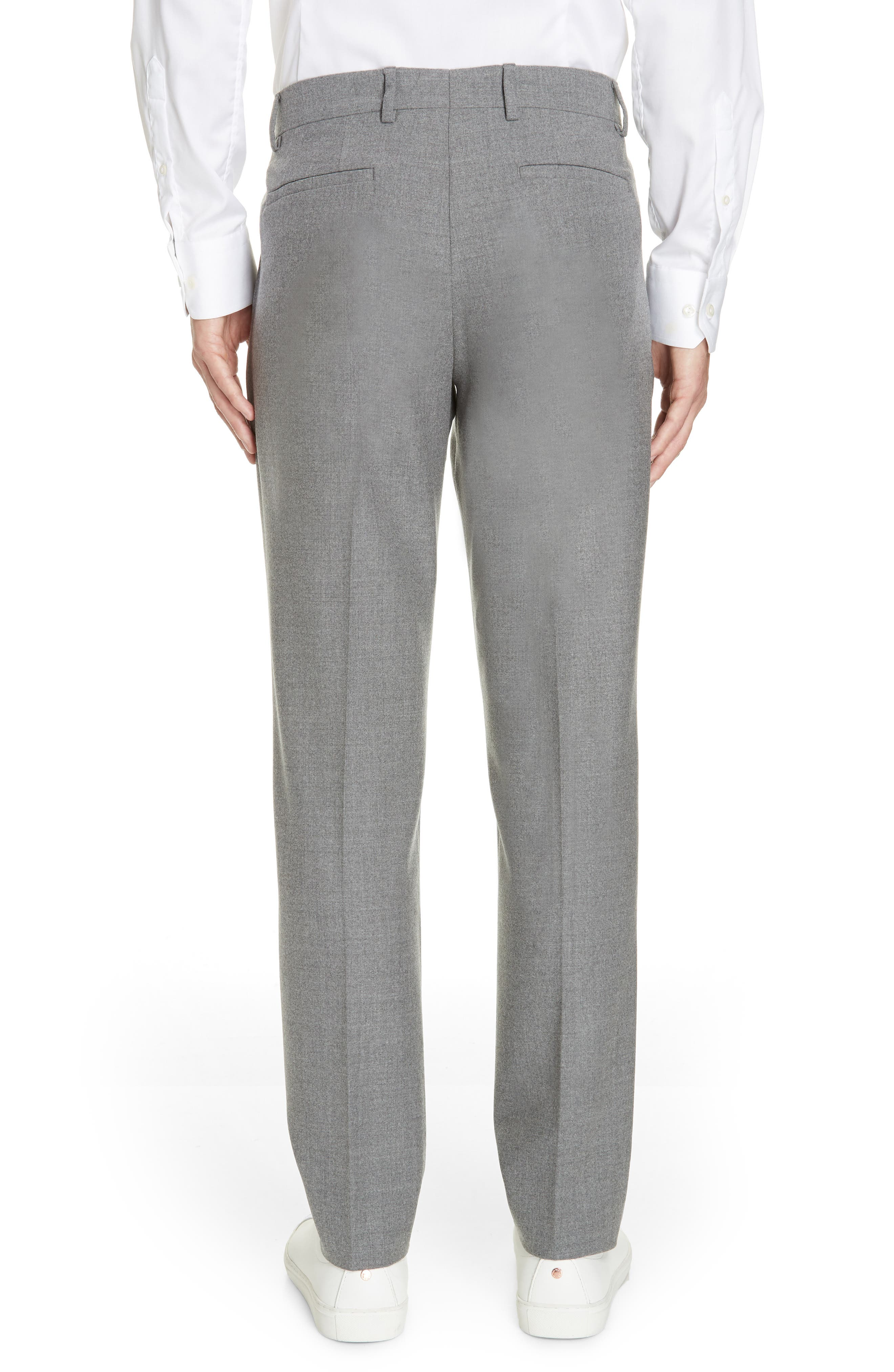 Slim Fit Pleated Stretch Wool Trousers,                             Alternate thumbnail 2, color,                             MID GREY