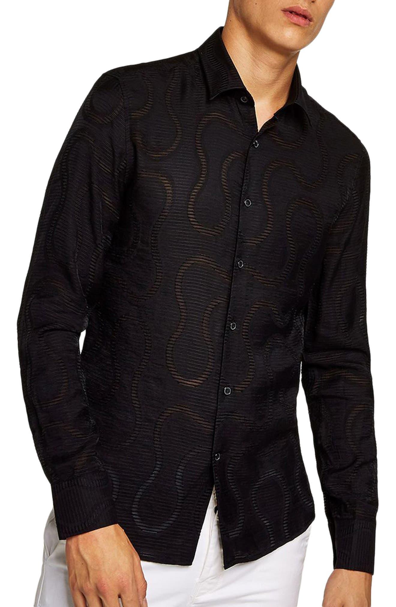 Slim Fit Sheer Swirl Shirt,                         Main,                         color, BLACK