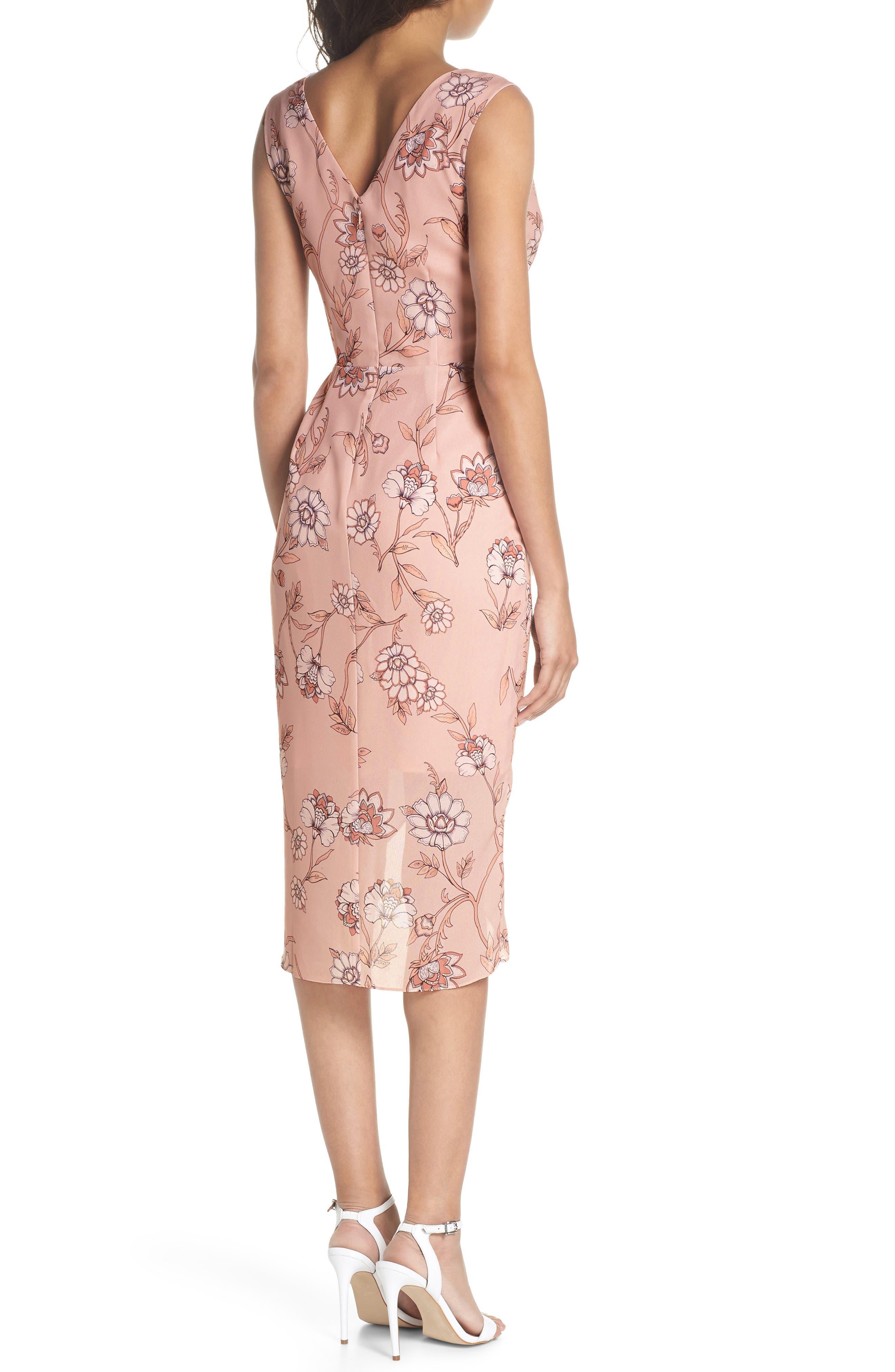 Fiorella Floral Draped Sheath Dress,                             Alternate thumbnail 2, color,                             668