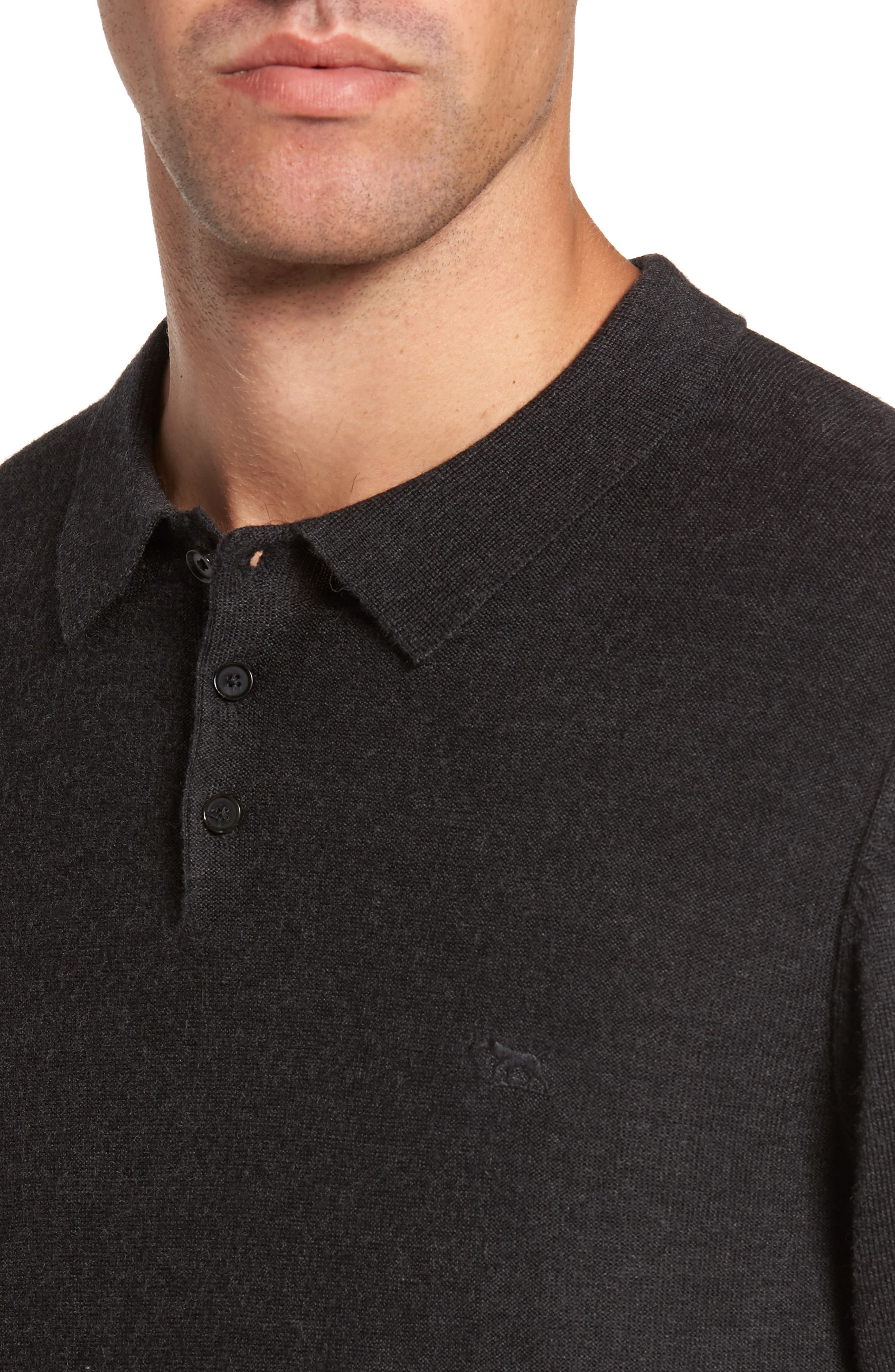 Crater Lake Piqué Wool Polo,                             Alternate thumbnail 4, color,                             021
