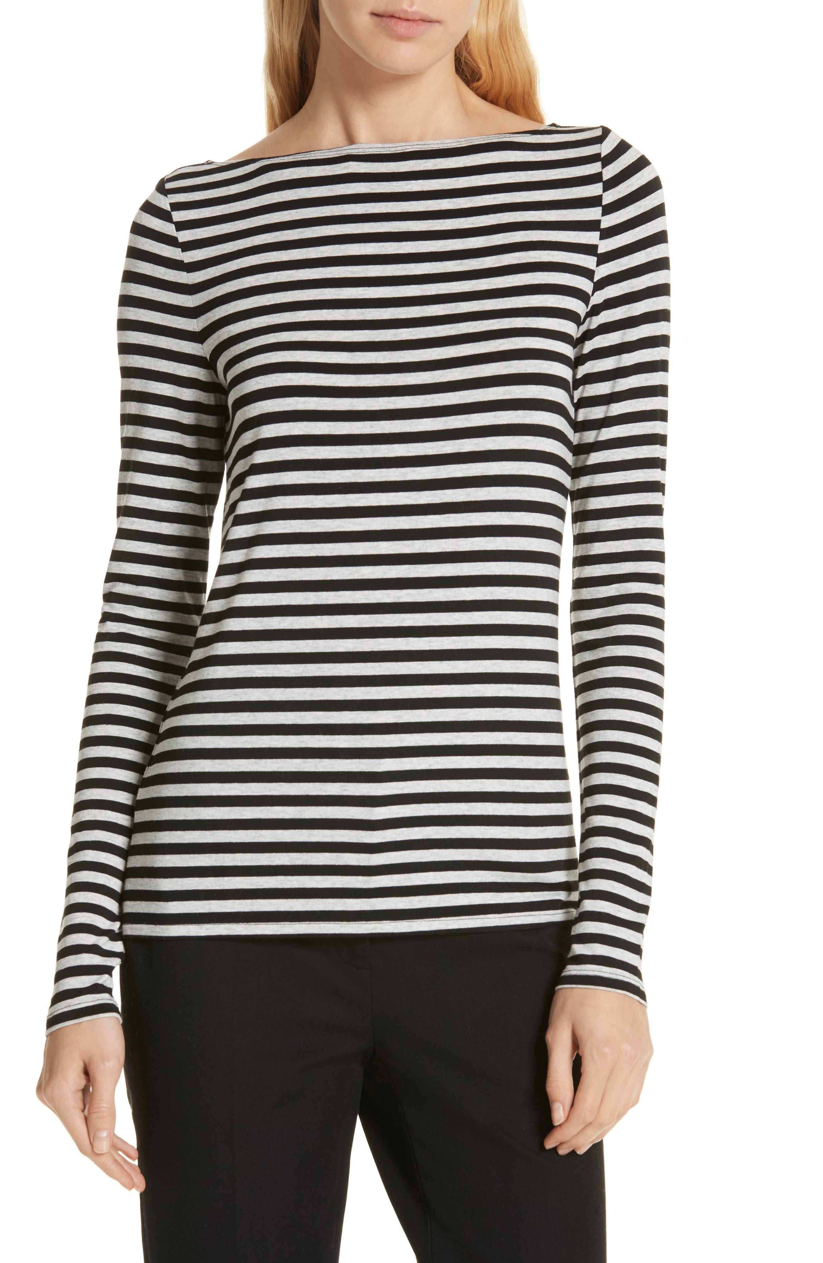 Stripe Bateau Neck Long Sleeve Tee,                         Main,                         color, HEATHER GREY- BLACK STRIPE