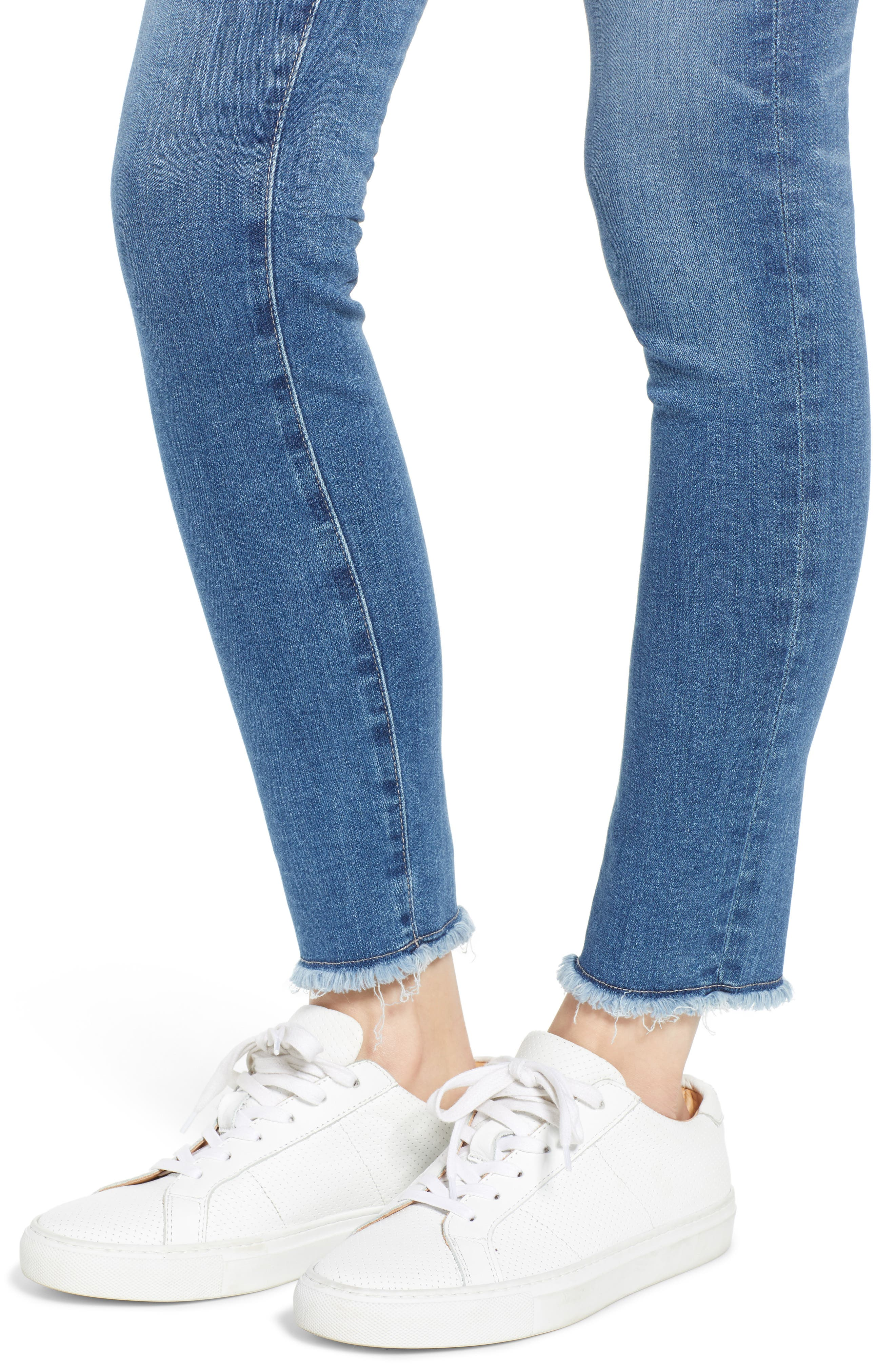 AG,                             The Legging Frayed Ankle Super Skinny Jeans,                             Alternate thumbnail 4, color,                             15 YEAR AFFINITY