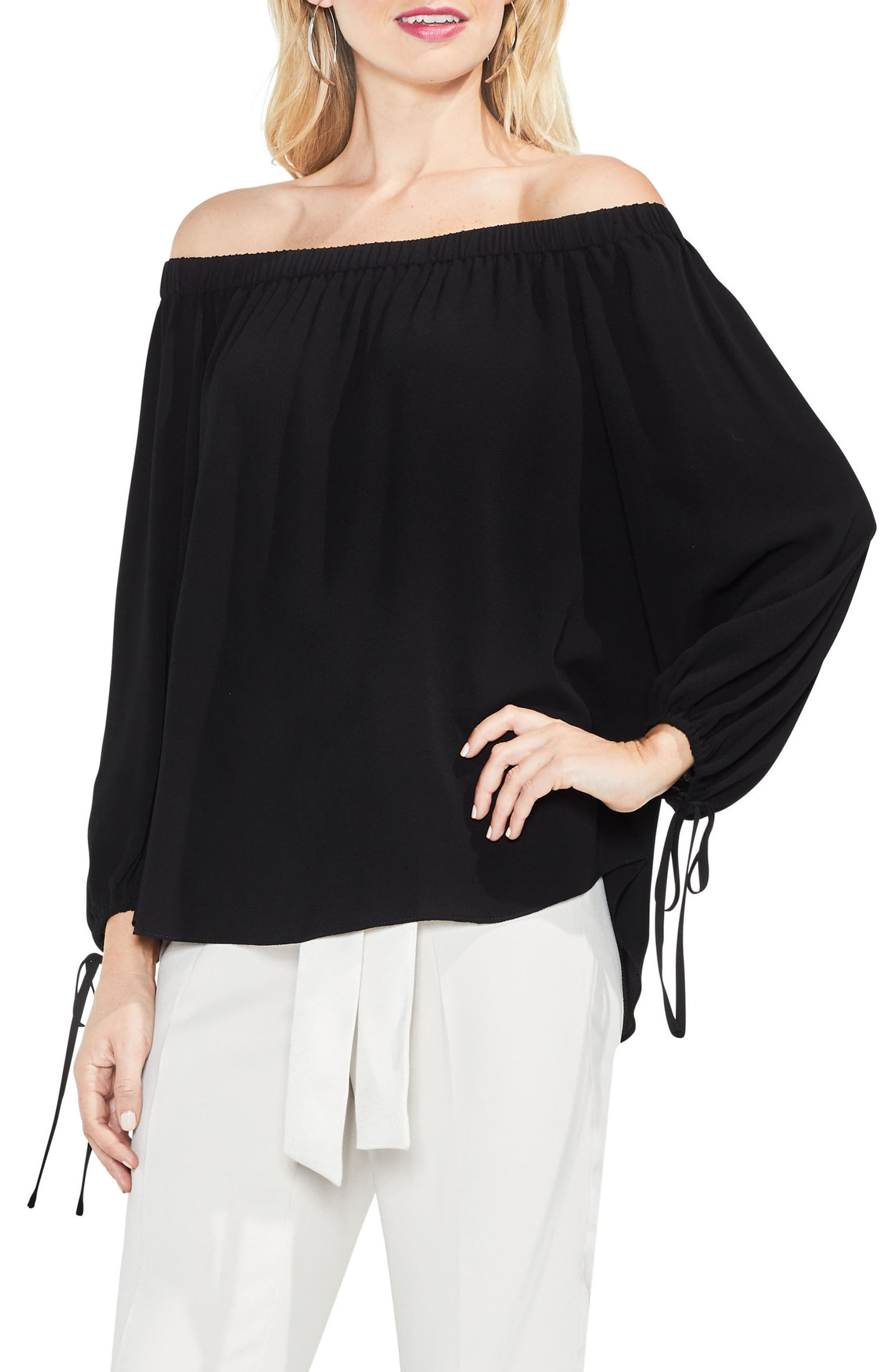 Tie-Cuff Off the Shoulder Blouse,                             Main thumbnail 1, color,                             006