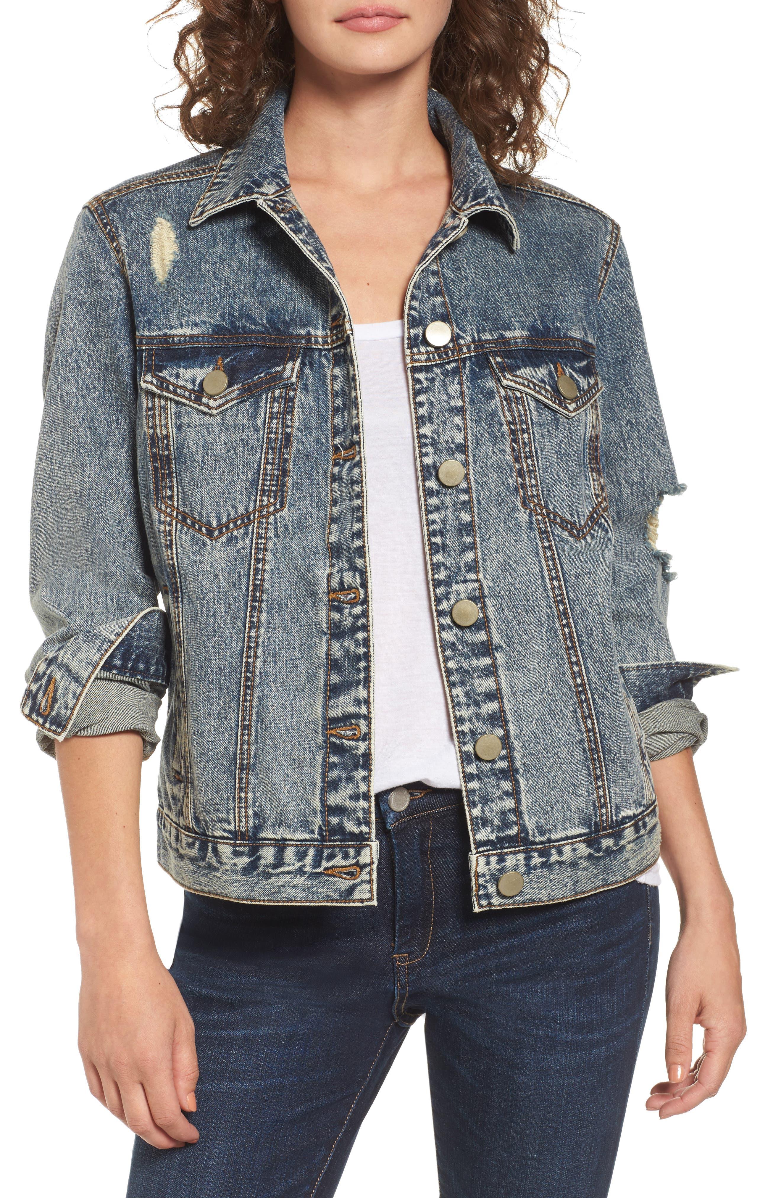Bossy Embellished Denim Jacket,                             Main thumbnail 1, color,                             420