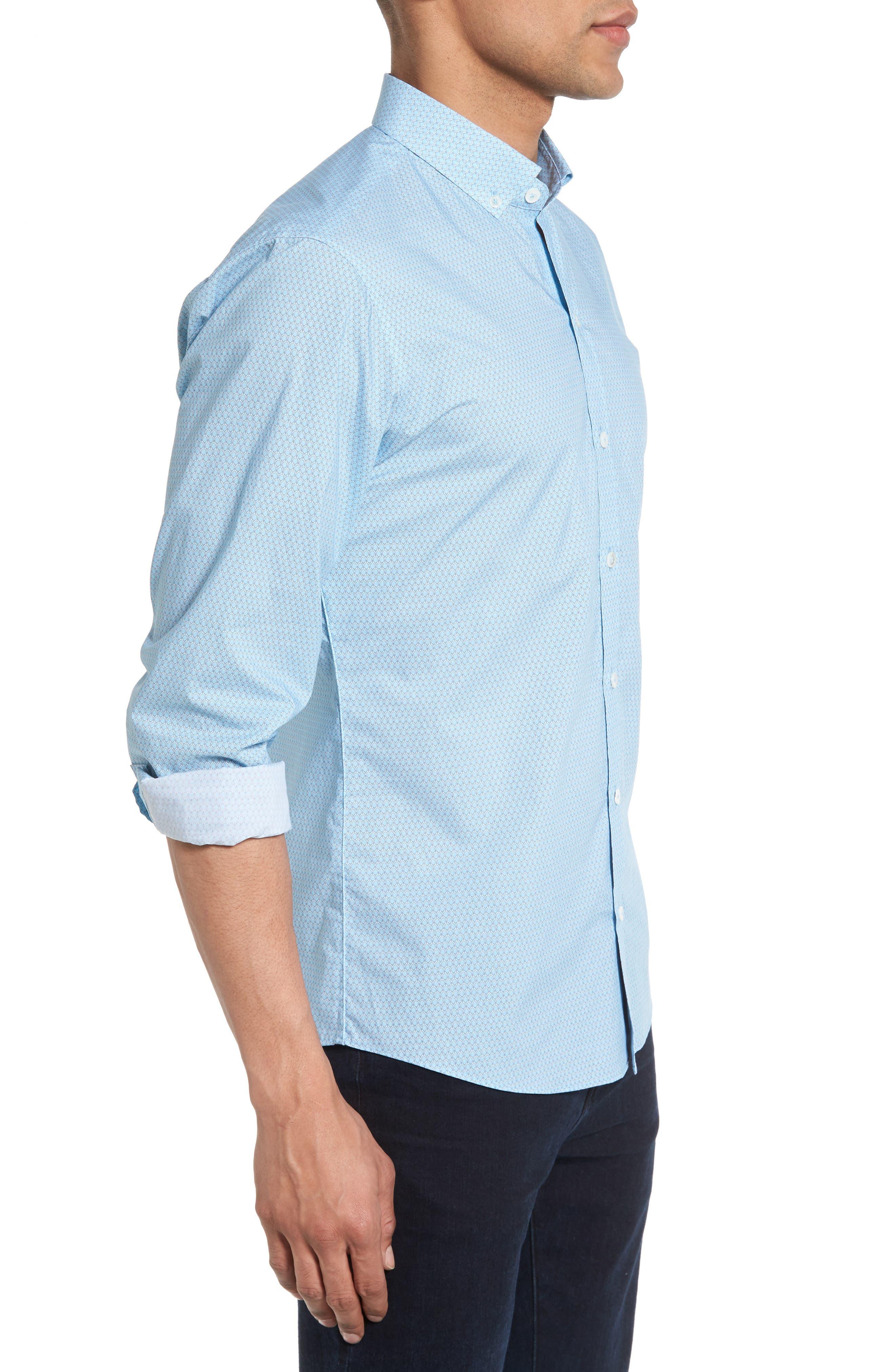 Dakotah Trim Fit Print Sport Shirt,                             Alternate thumbnail 3, color,                             LIGHT BLUE