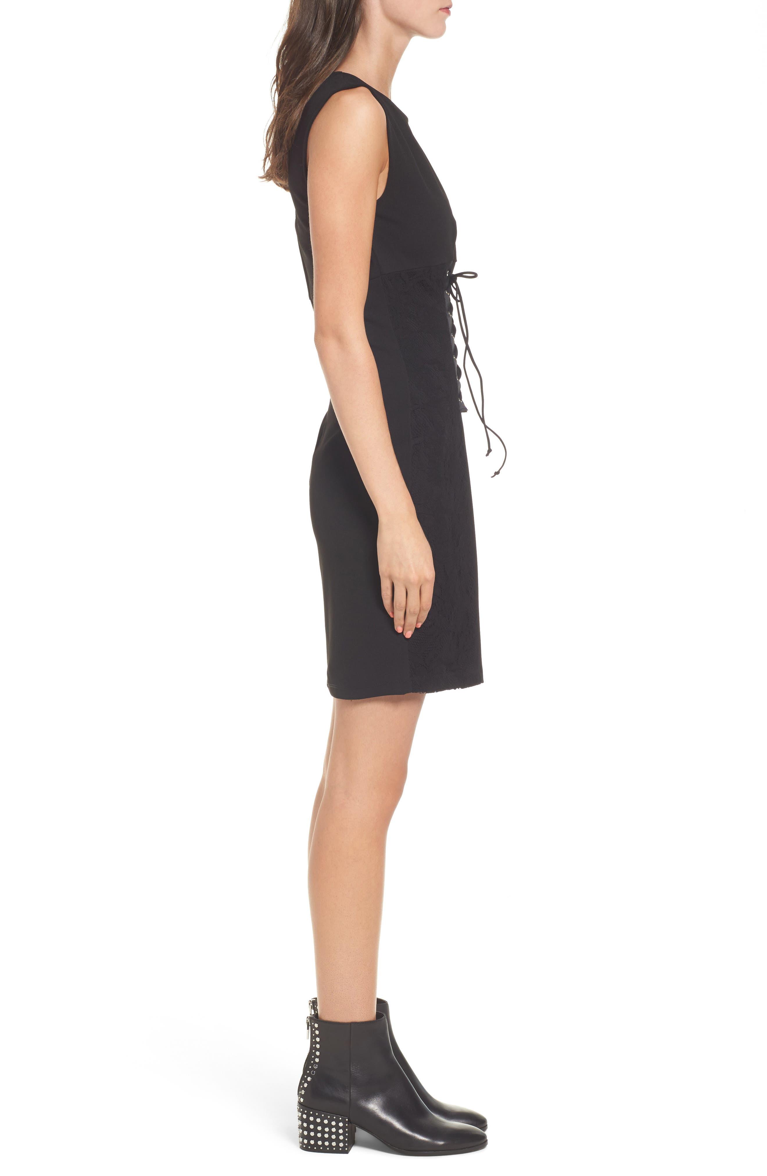 Corset Waist Lace Minidress,                             Alternate thumbnail 3, color,                             001