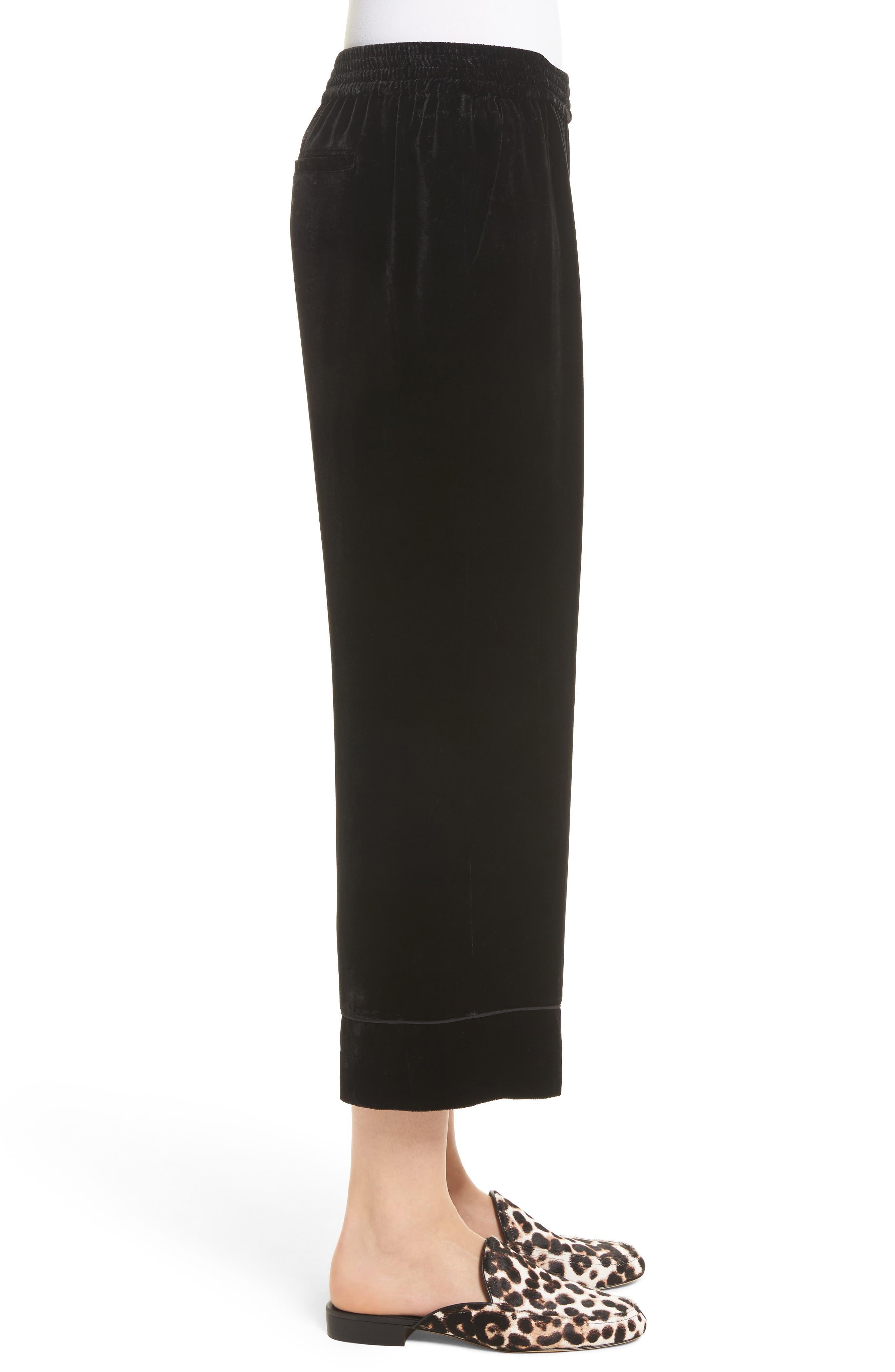 Kaitrine Wide Leg Velvet Crop Pants,                             Alternate thumbnail 3, color,                             002