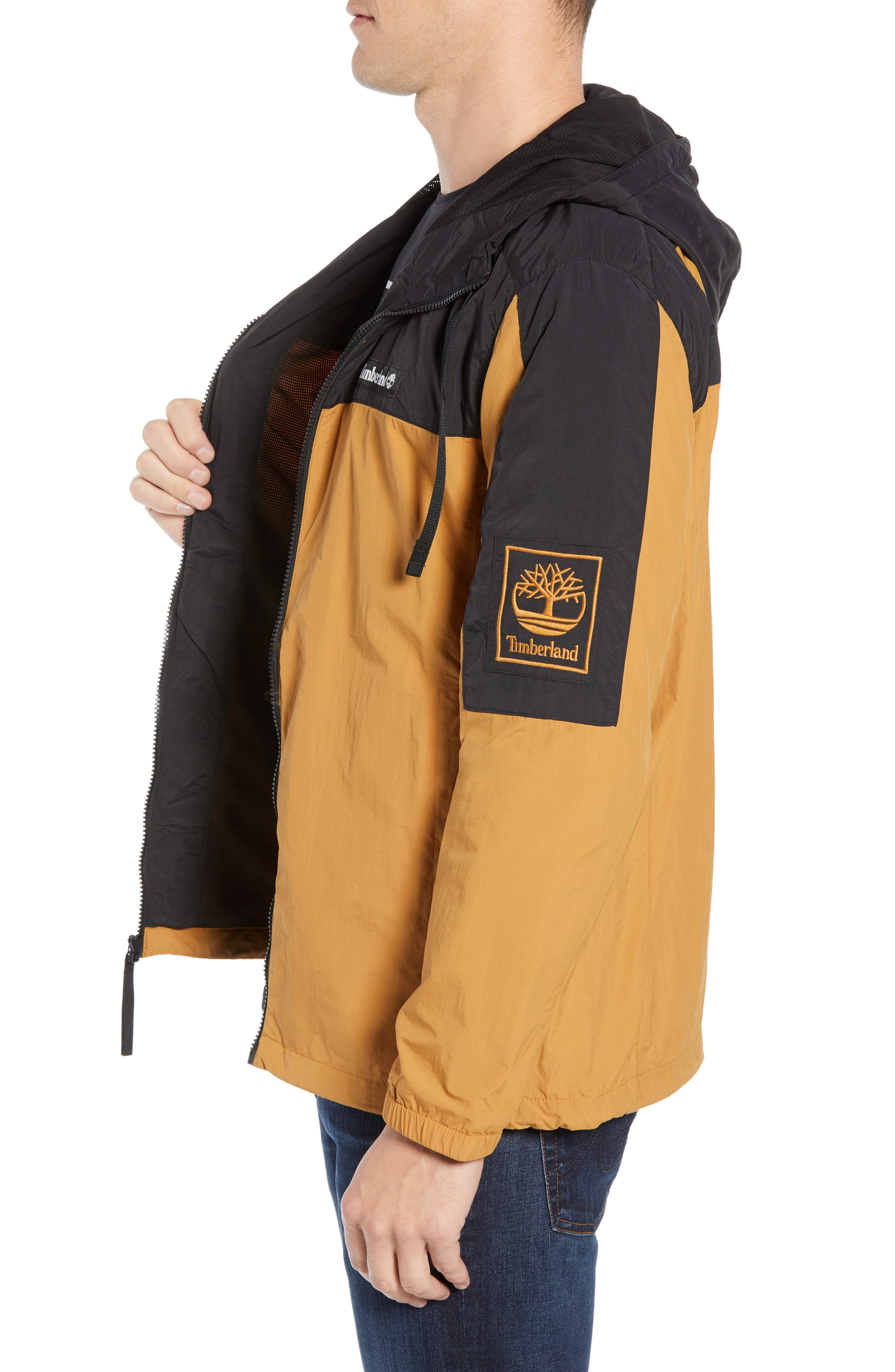 Windbreaker Hooded Jacket,                             Alternate thumbnail 3, color,                             WHEAT BOOT/ BLACK