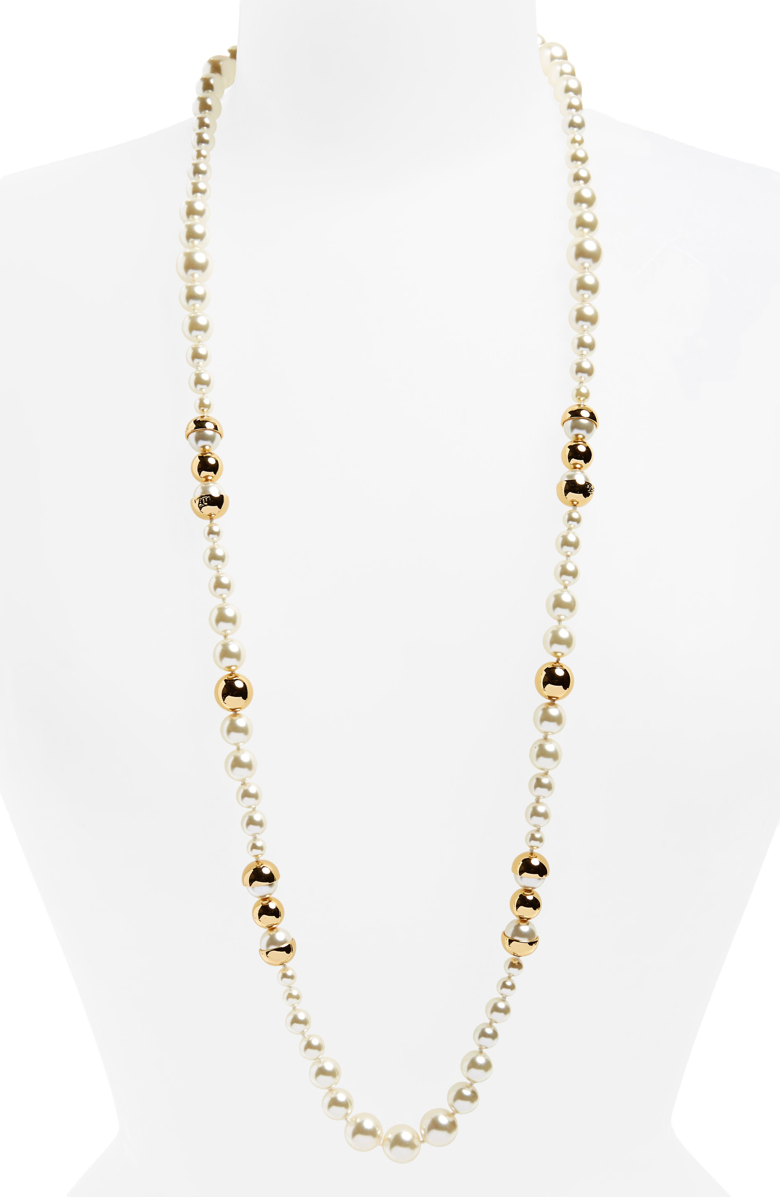 TORY BURCH,                             Imitation Pearl Strand Necklace,                             Main thumbnail 1, color,                             IVORY / TORY GOLD