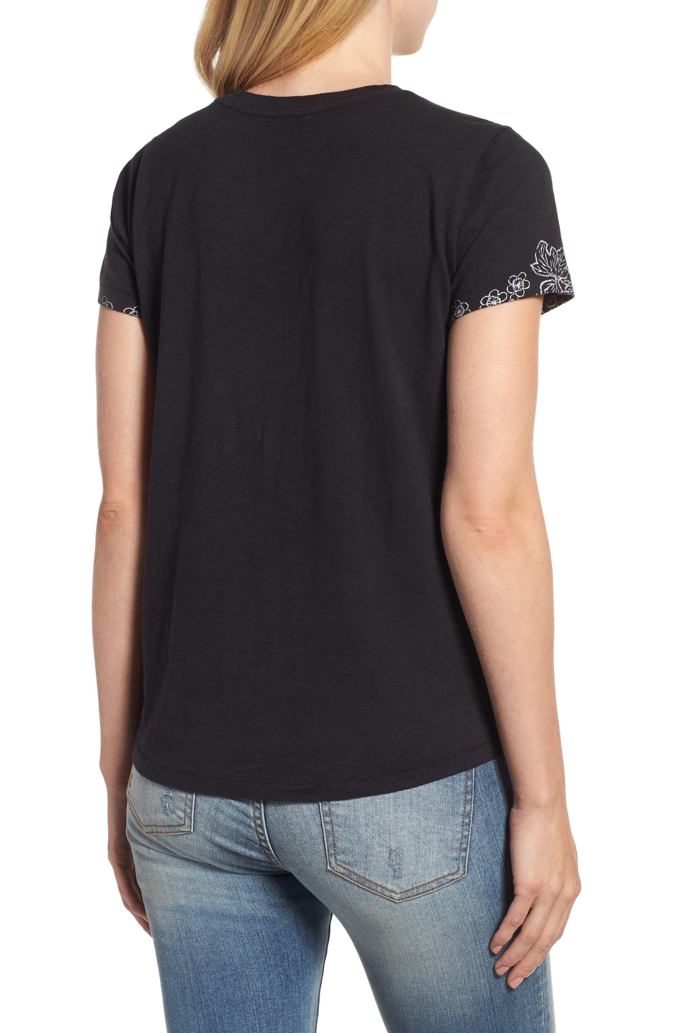 LUCKY BRAND,                             Embroidered Tee,                             Alternate thumbnail 2, color,                             001