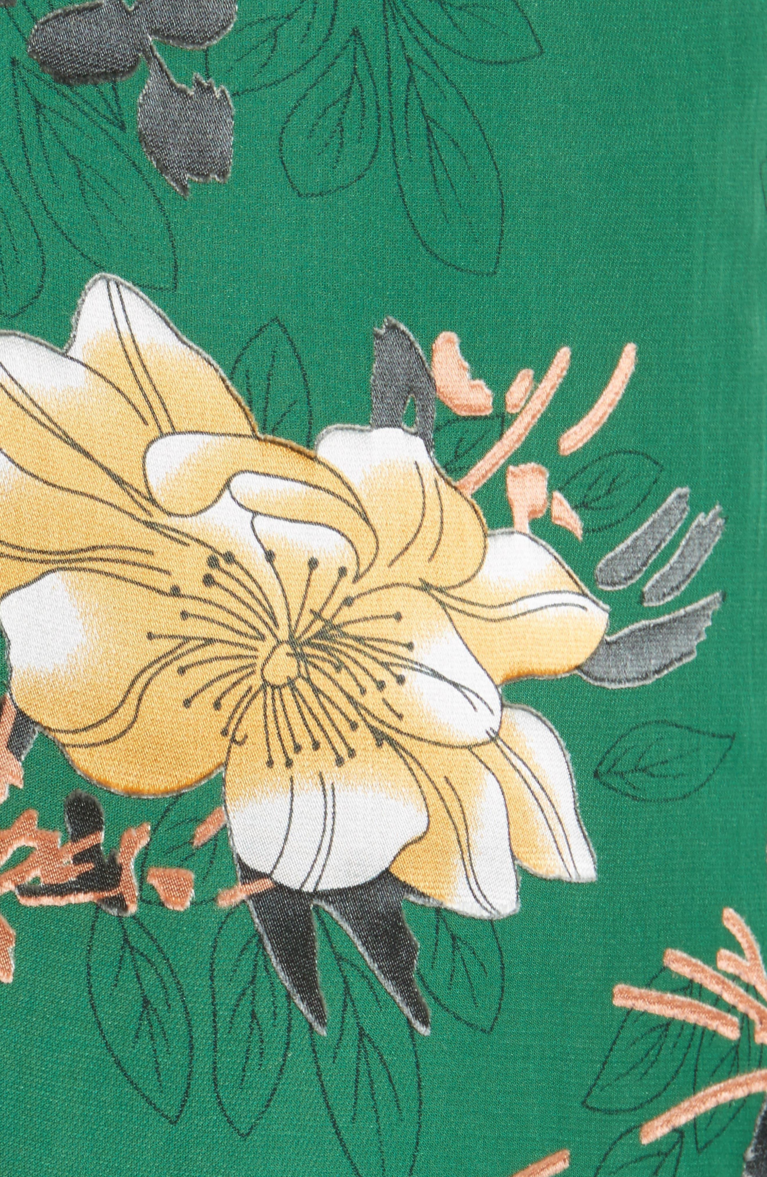 Sasha Ruffled Asymmetrical Floral Skirt,                             Alternate thumbnail 5, color,