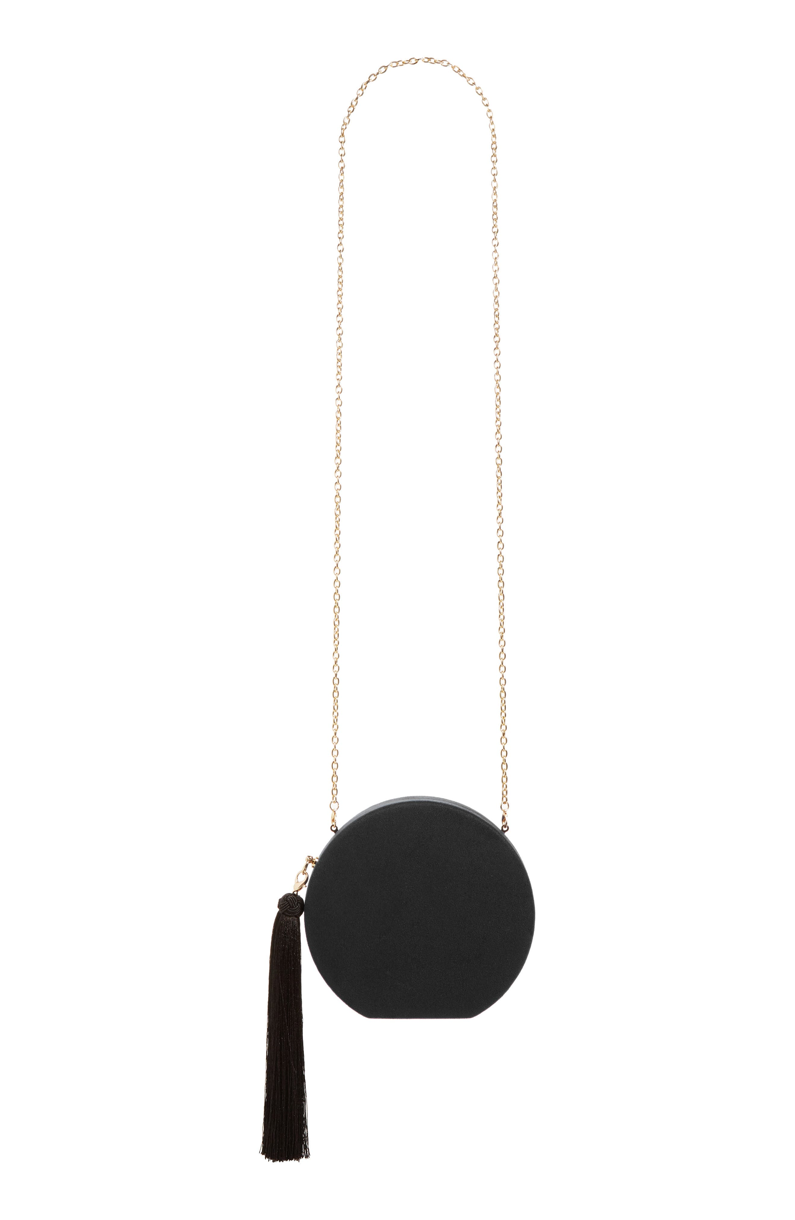 Couture Round Tassel Clutch,                         Main,                         color, 001