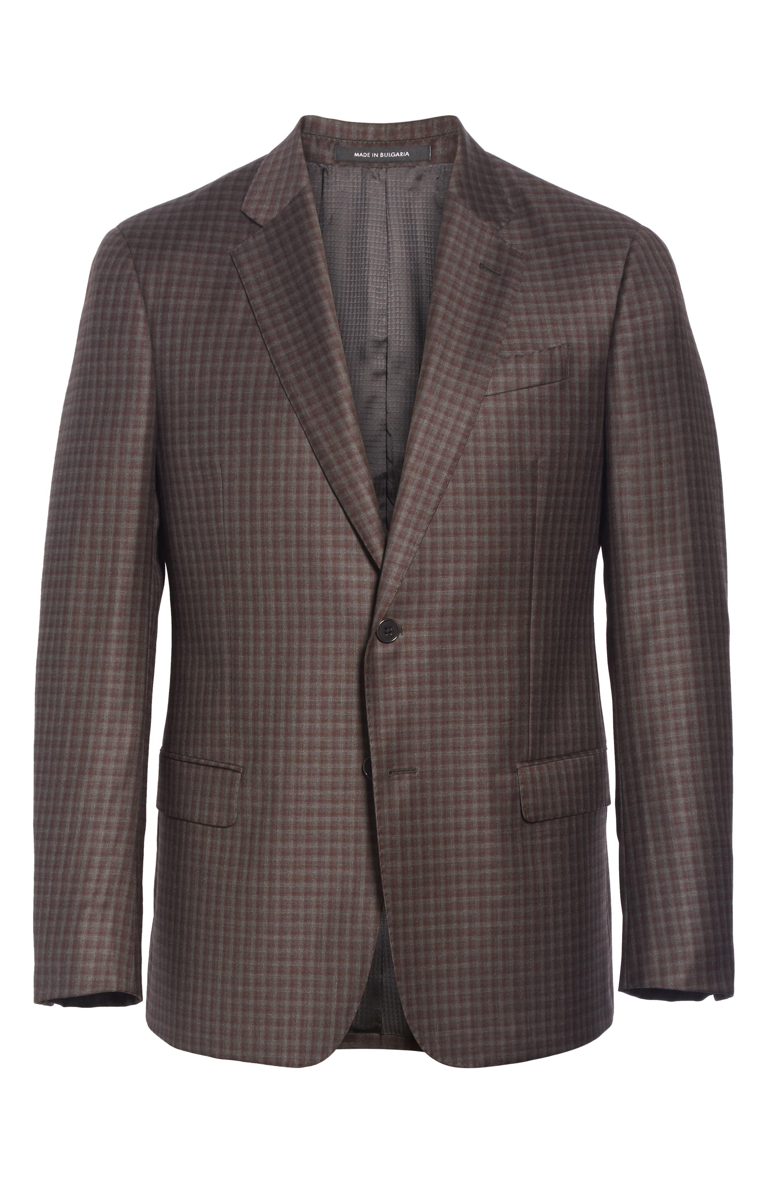 G-Line Trim Fit Plaid Wool Sport Coat,                             Alternate thumbnail 5, color,                             RED/ BROWN