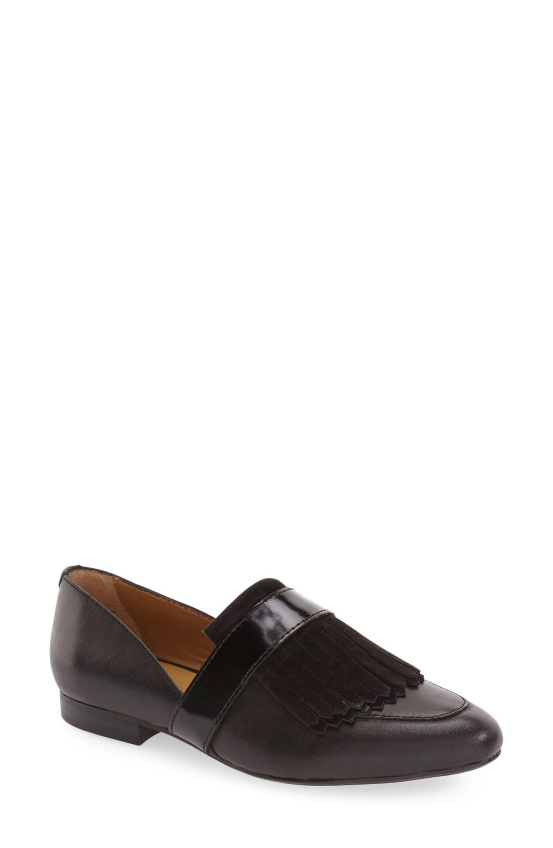 'Harlow' Kiltie Leather Loafer,                             Main thumbnail 1, color,                             BLACK LEATHER