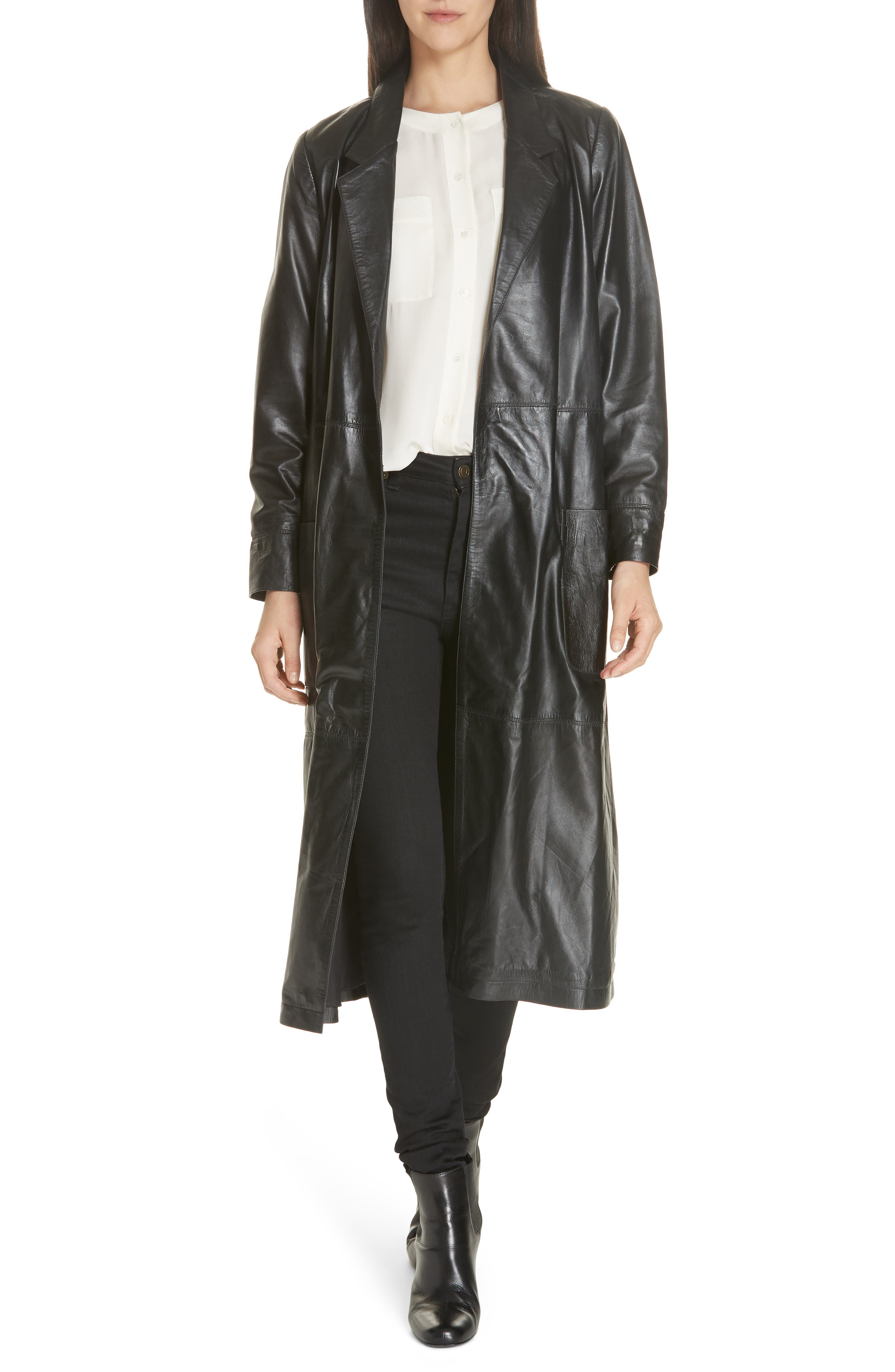 Leather Trench Coat,                         Main,                         color, BLACK
