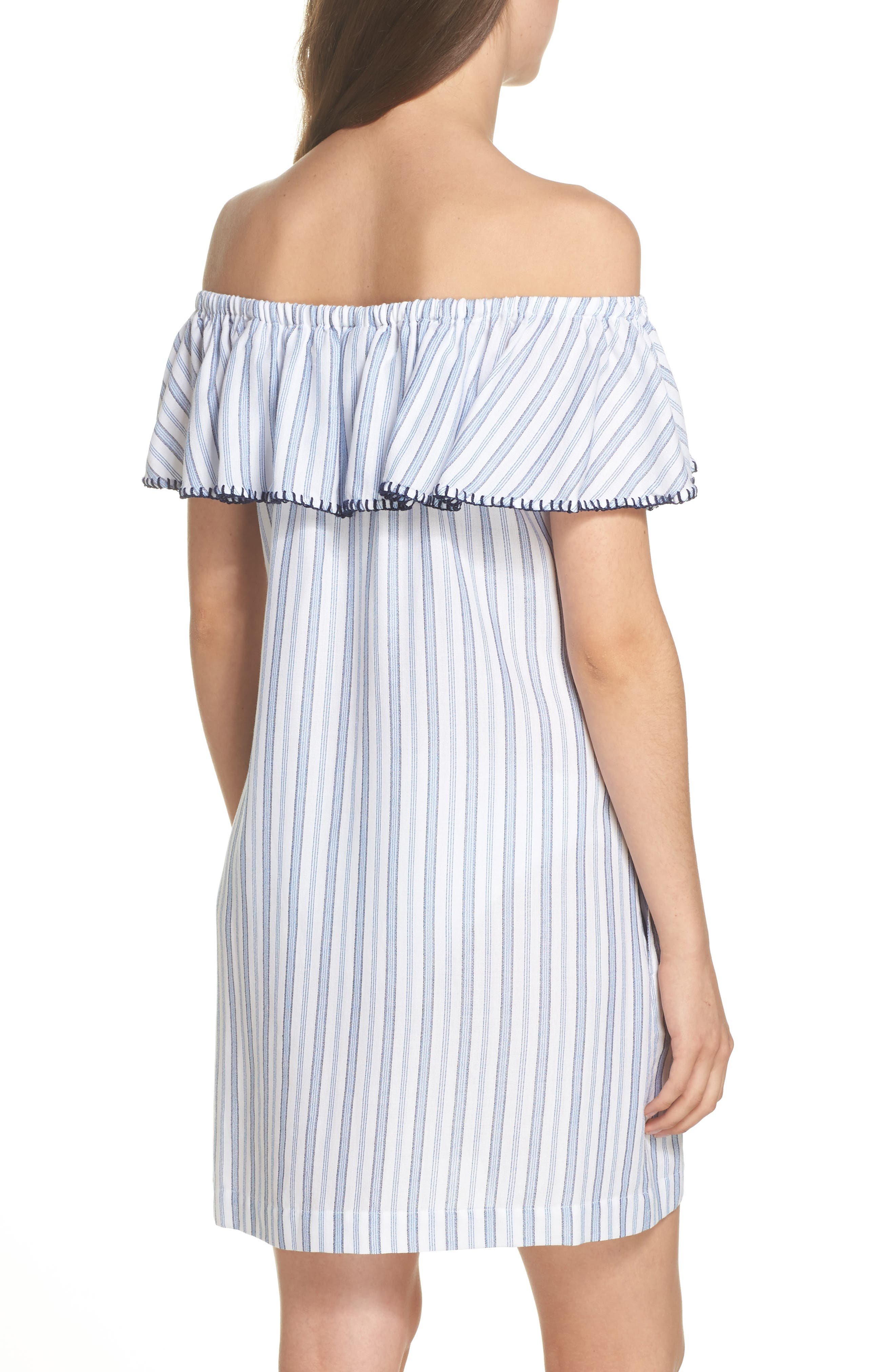 Ticking Stripe Off the Shoulder Cover-Up Dress,                             Alternate thumbnail 2, color,                             100